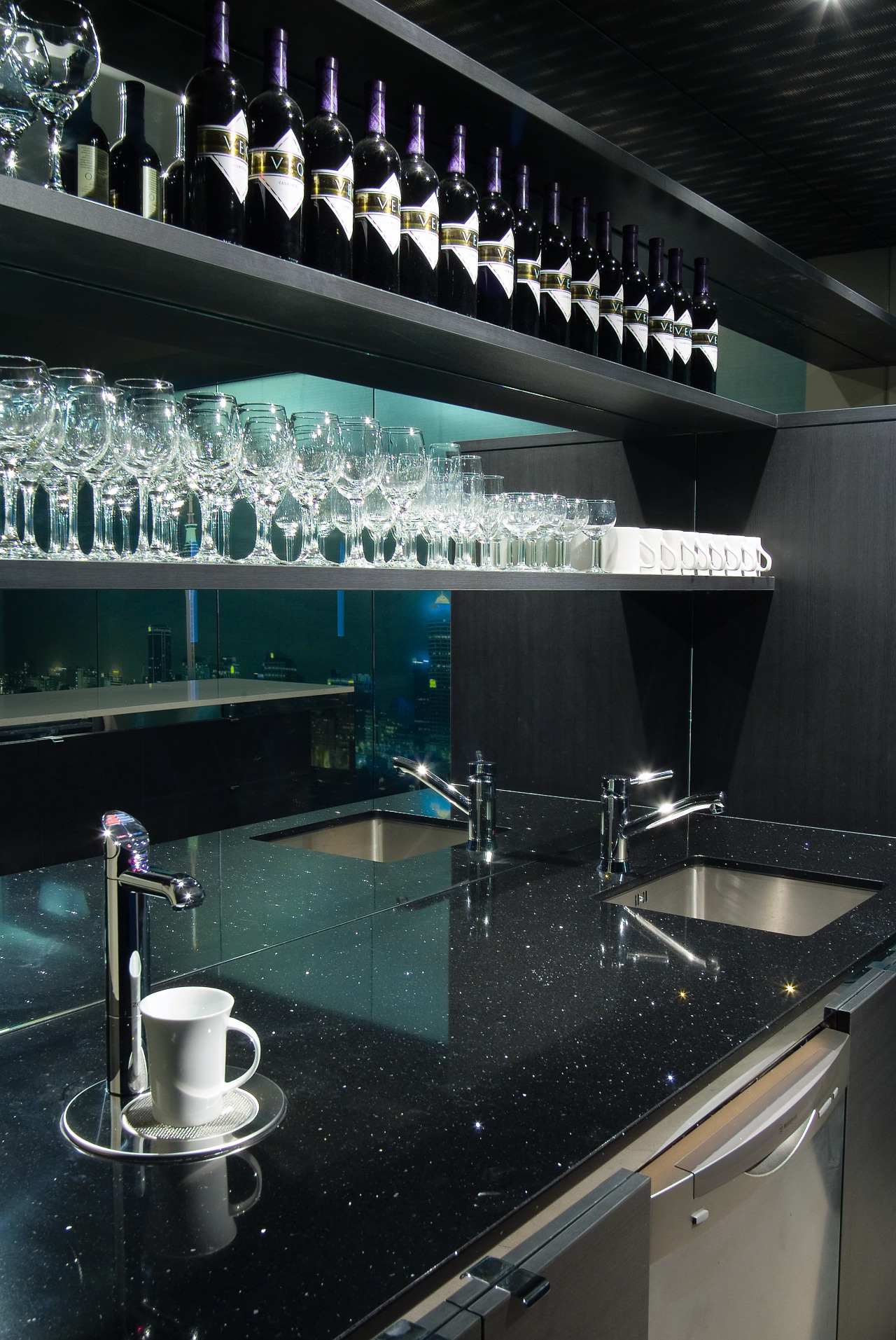 A view of these kitchens designed by Yellowfox ceiling, countertop, glass, interior design, kitchen, lighting, black