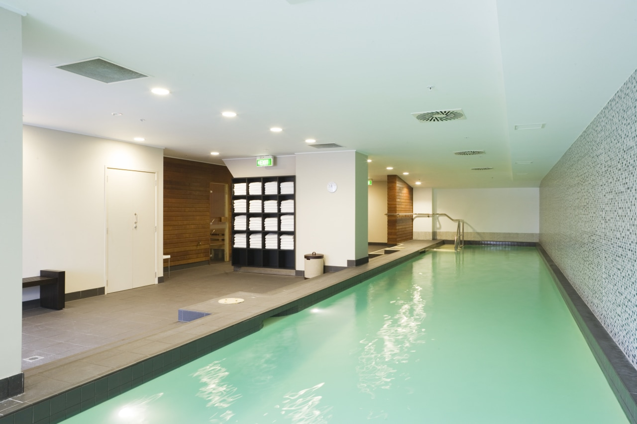 A 17m long heated pool is among the apartment, estate, interior design, leisure, leisure centre, property, real estate, swimming pool, white, gray