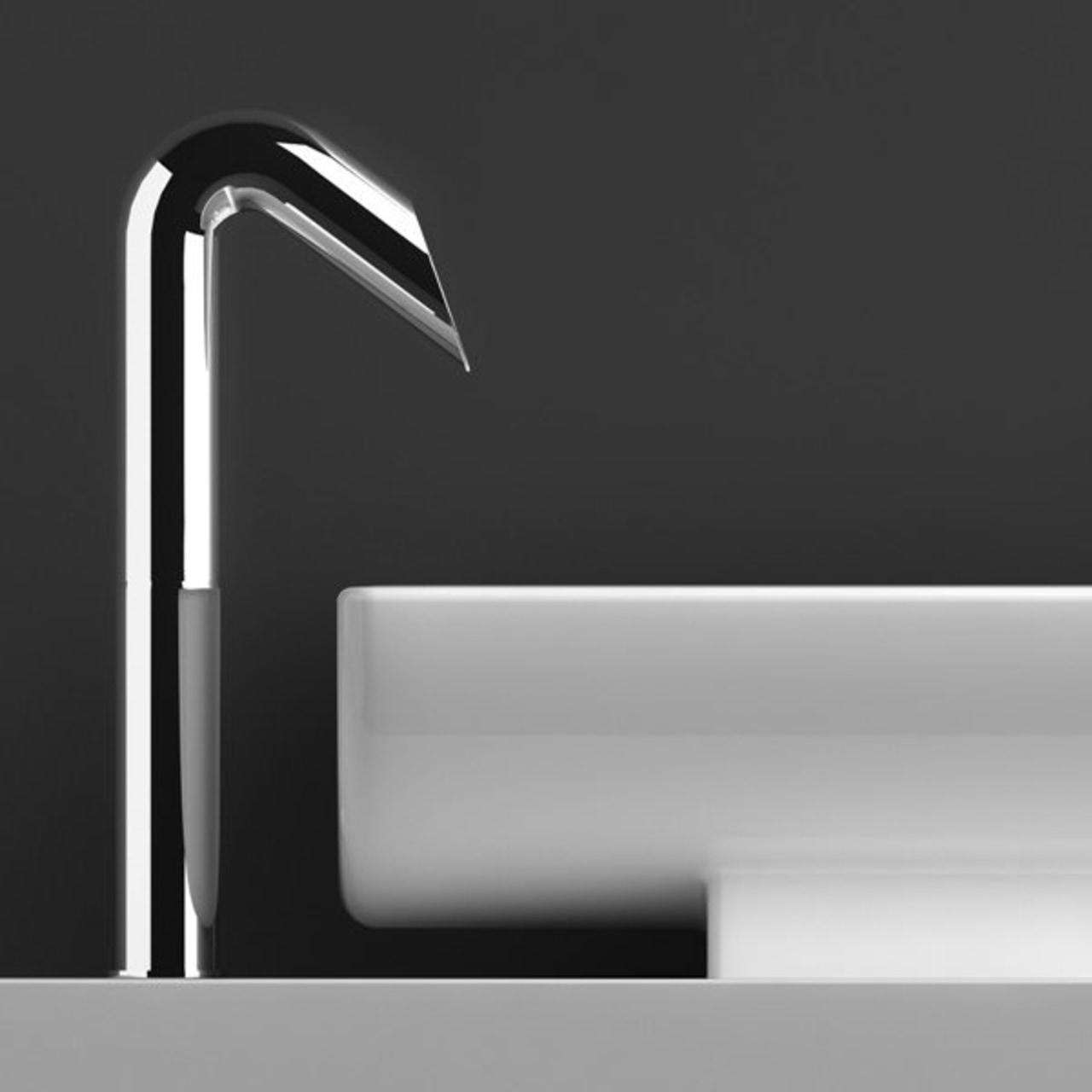 Sleek lines and highly polished chrome finish characterise black and white, font, light, lighting, monochrome, product, product design, tap, black, gray