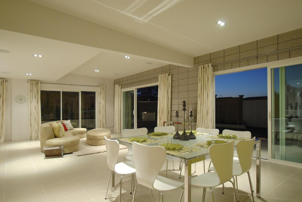 Summit Aluminium supplied the sliding doors, windows and apartment, ceiling, dining room, estate, interior design, living room, property, real estate, room, window, brown, orange