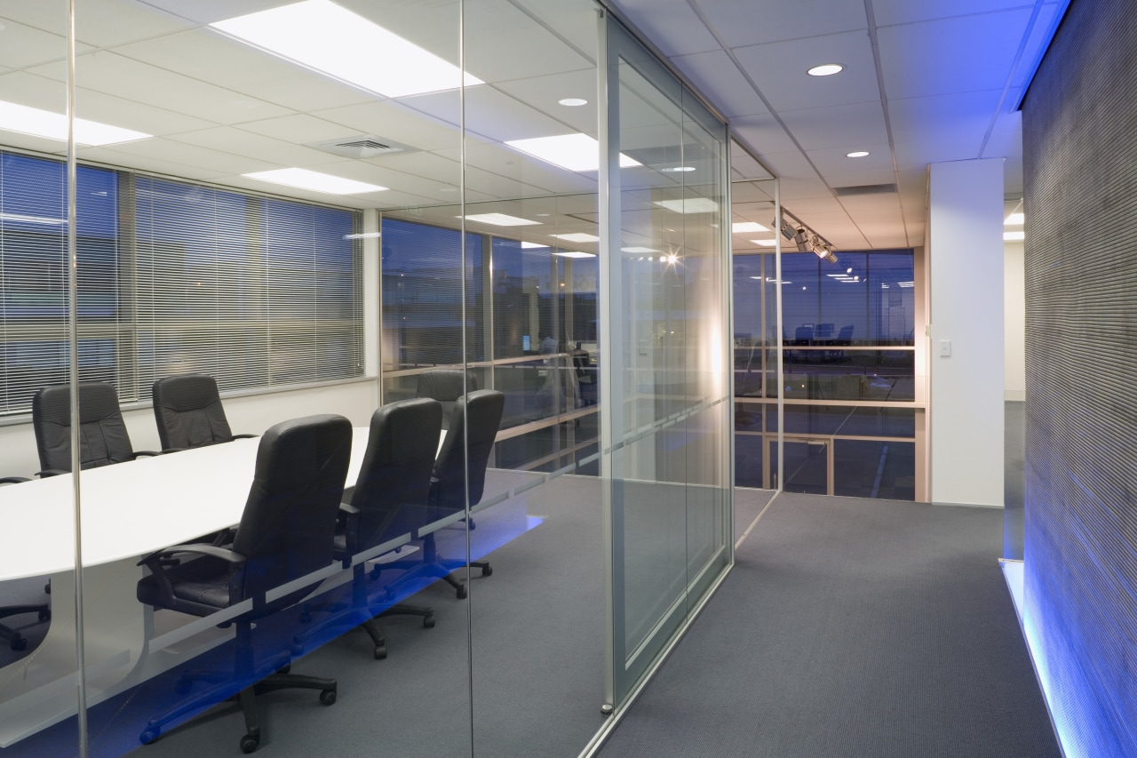 T keep the offices light and airy, the ceiling, glass, interior design, office, gray
