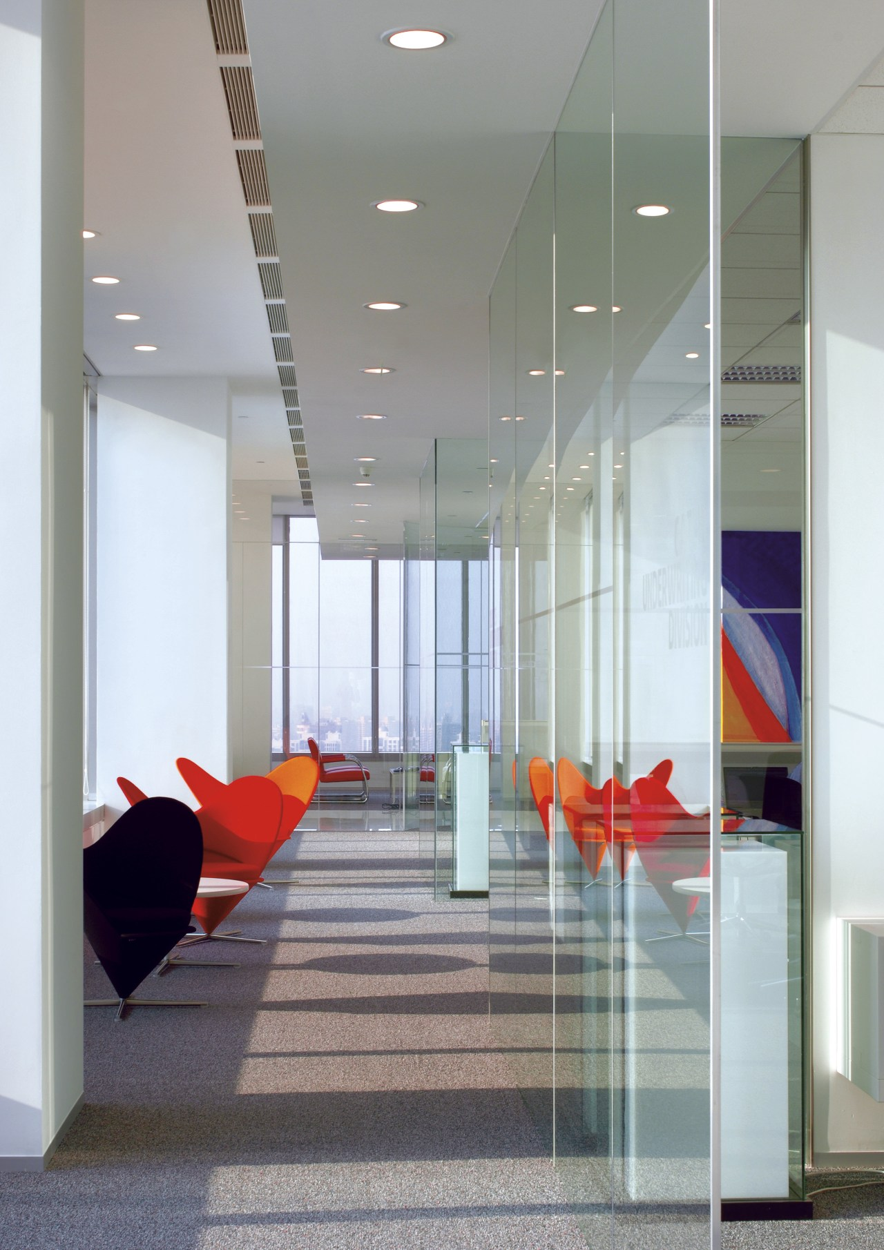 Interior view of Lloyd's Reinsurance Co. featuring stone architecture, ceiling, daylighting, floor, flooring, glass, interior design, lobby, gray
