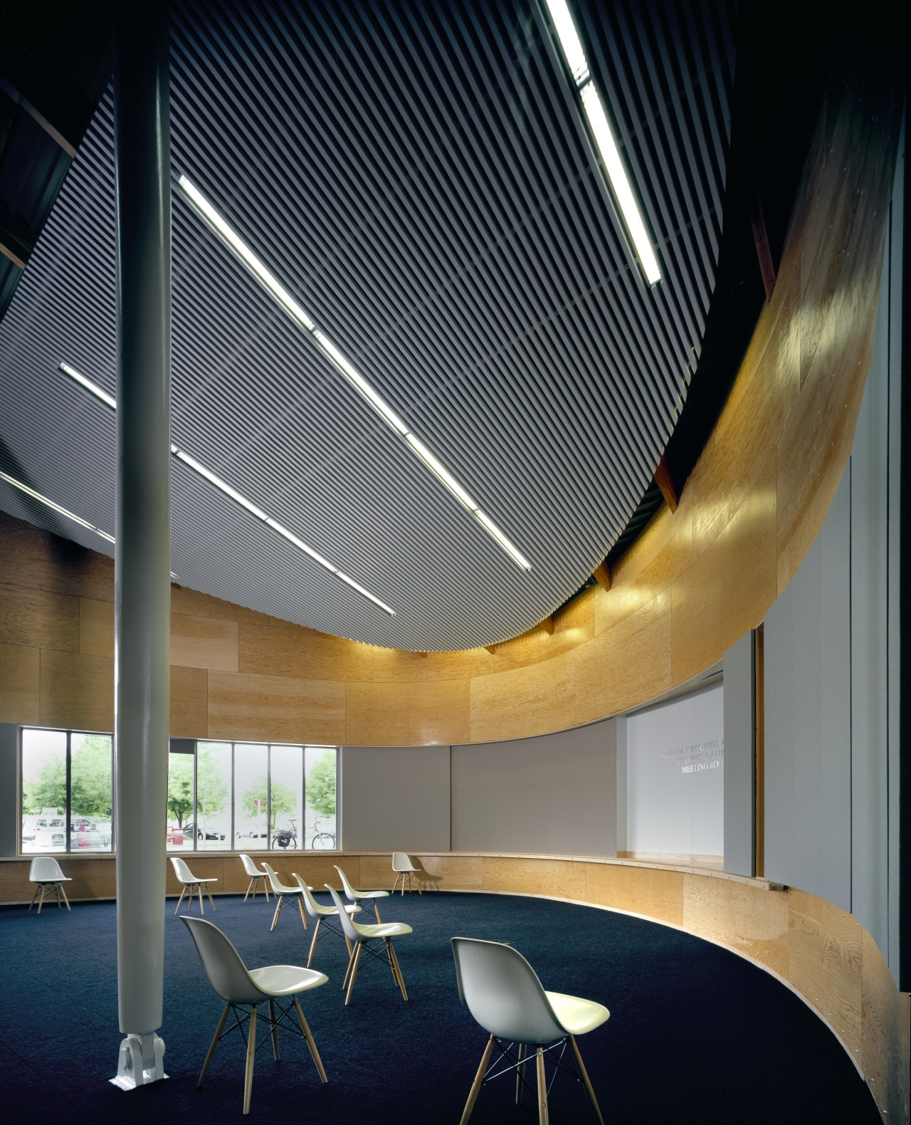 View of the Ballard Library and Neighborhood Service architecture, ceiling, daylighting, house, interior design, lighting, shade, black, gray
