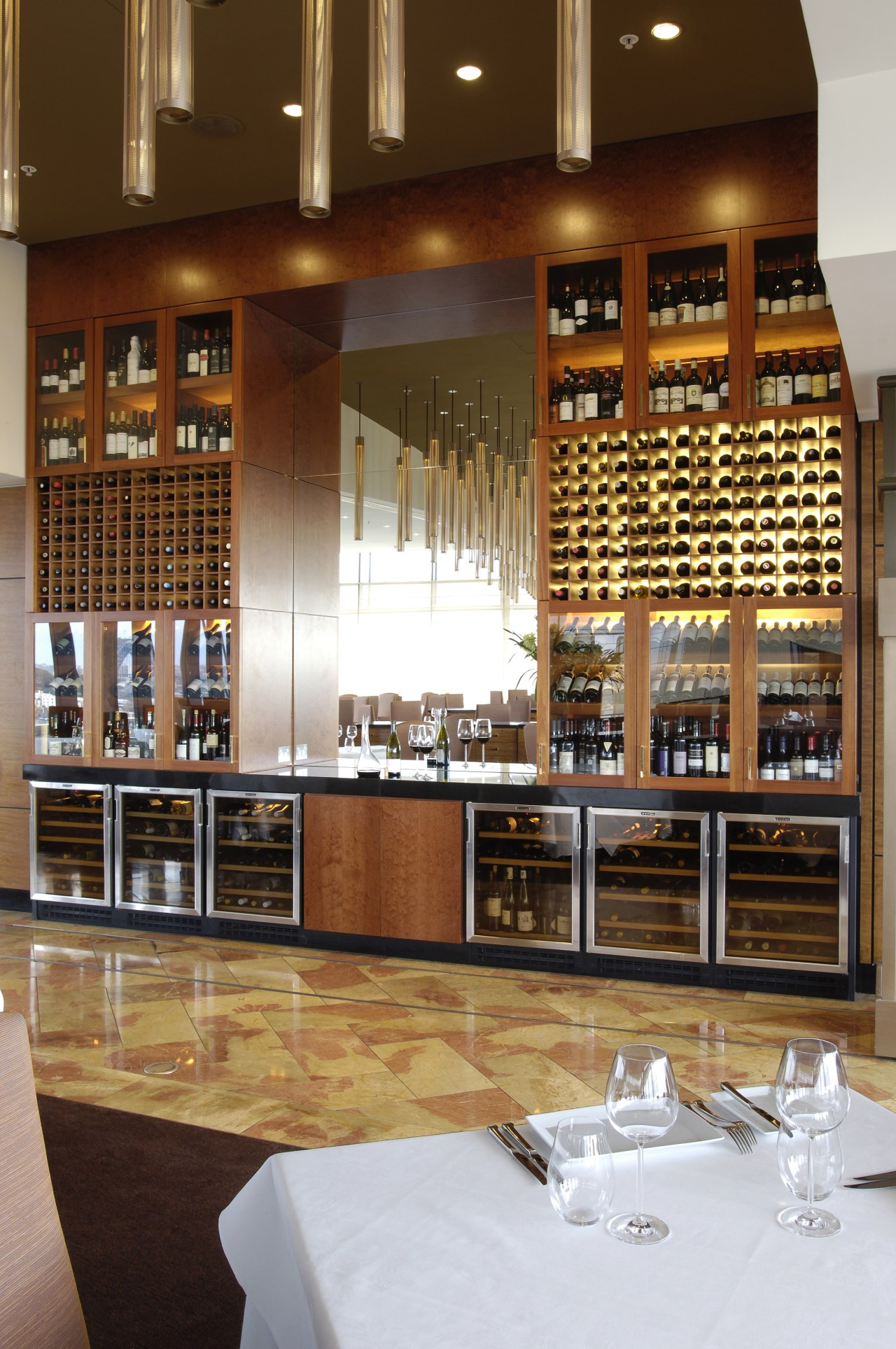 Vintec wine cabinets enhance the professional ambience of café, countertop, interior design, kitchen, liquor store, restaurant, wine cellar, winery, brown