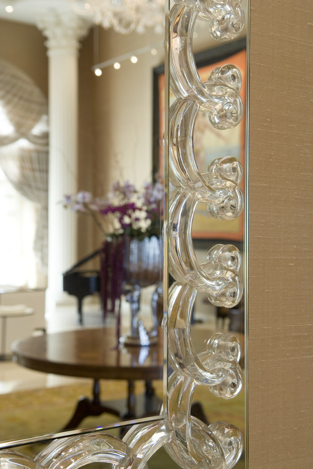 Lalique crystal is a favorite with the owners furniture, glass, interior design, brown