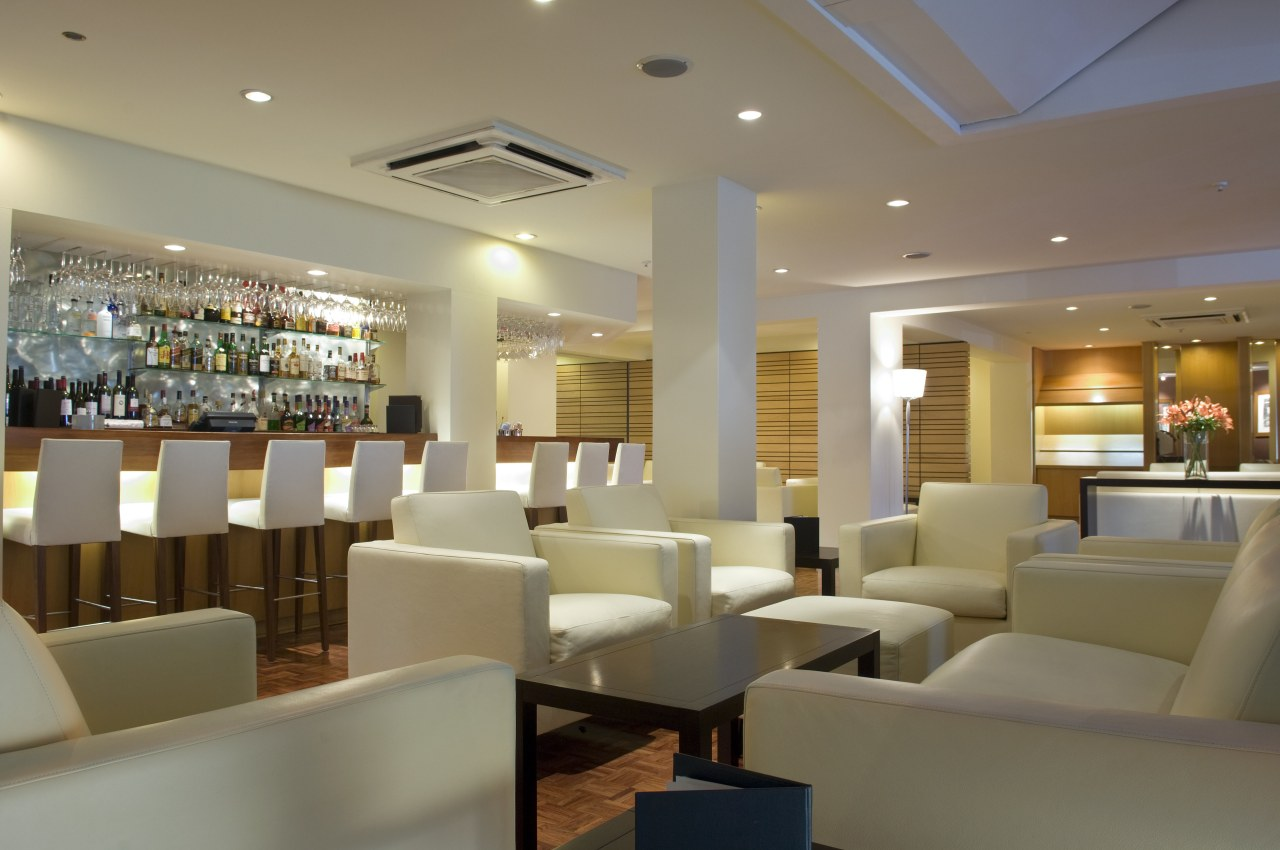 A view of the revamped hotel lounge bar café, ceiling, function hall, interior design, lobby, restaurant, brown, gray