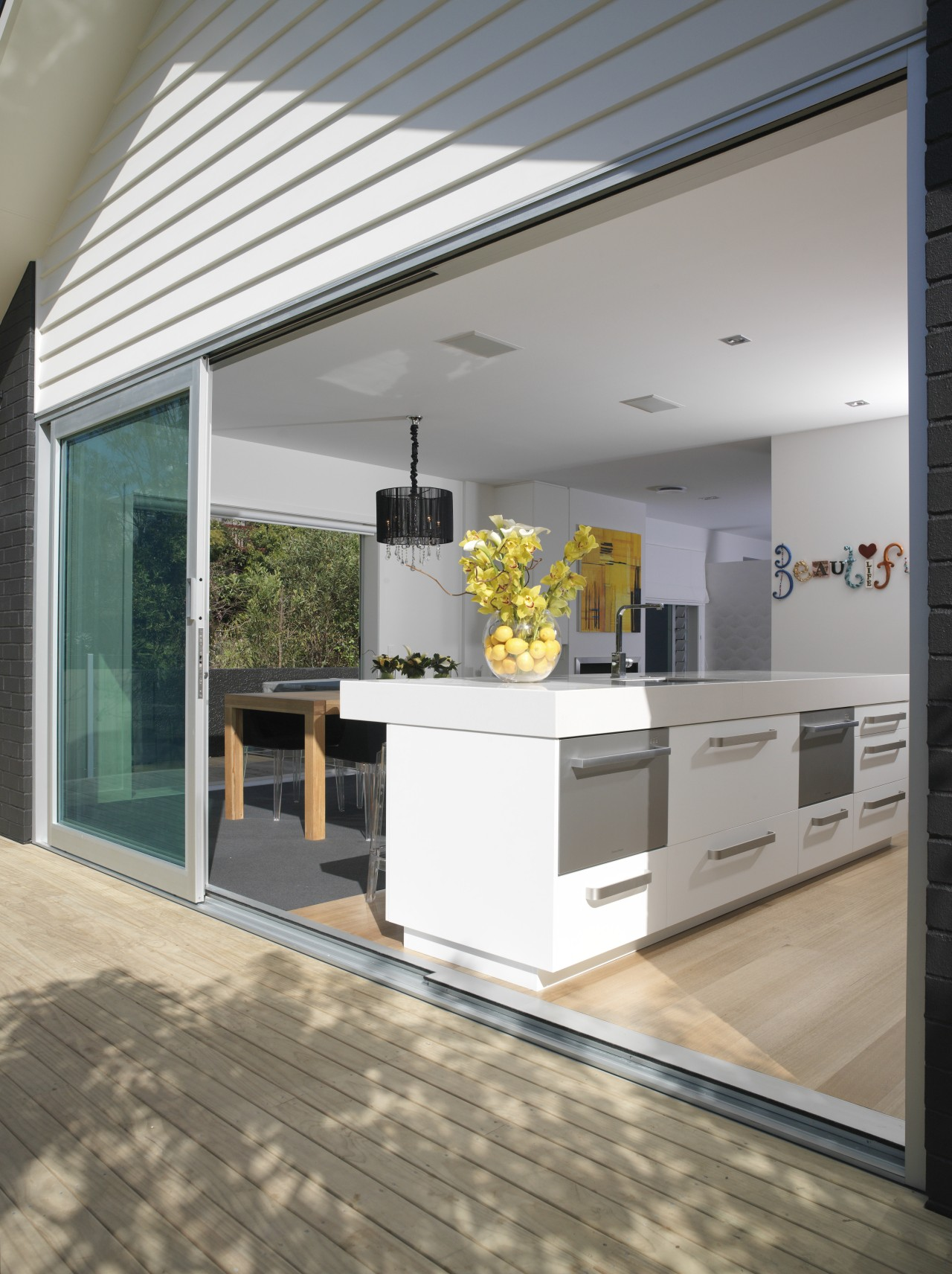 A view of some door and window joinery architecture, countertop, daylighting, floor, house, interior design, kitchen, real estate, window, gray, white