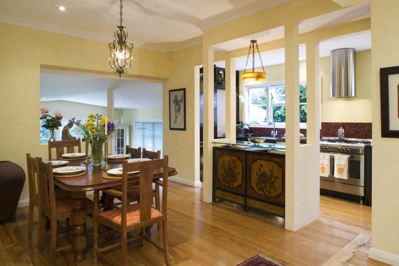 View of Kitchen designed by Celia Visser Design, dining room, interior design, living room, property, real estate, room, orange, brown