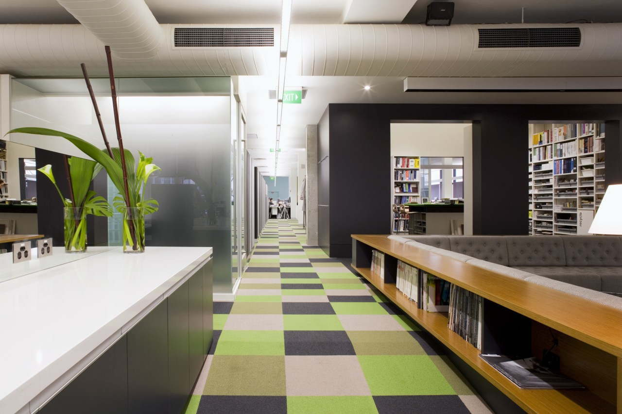 Interior view of offices featuring frosted glass doors, architecture, interior design, gray, black