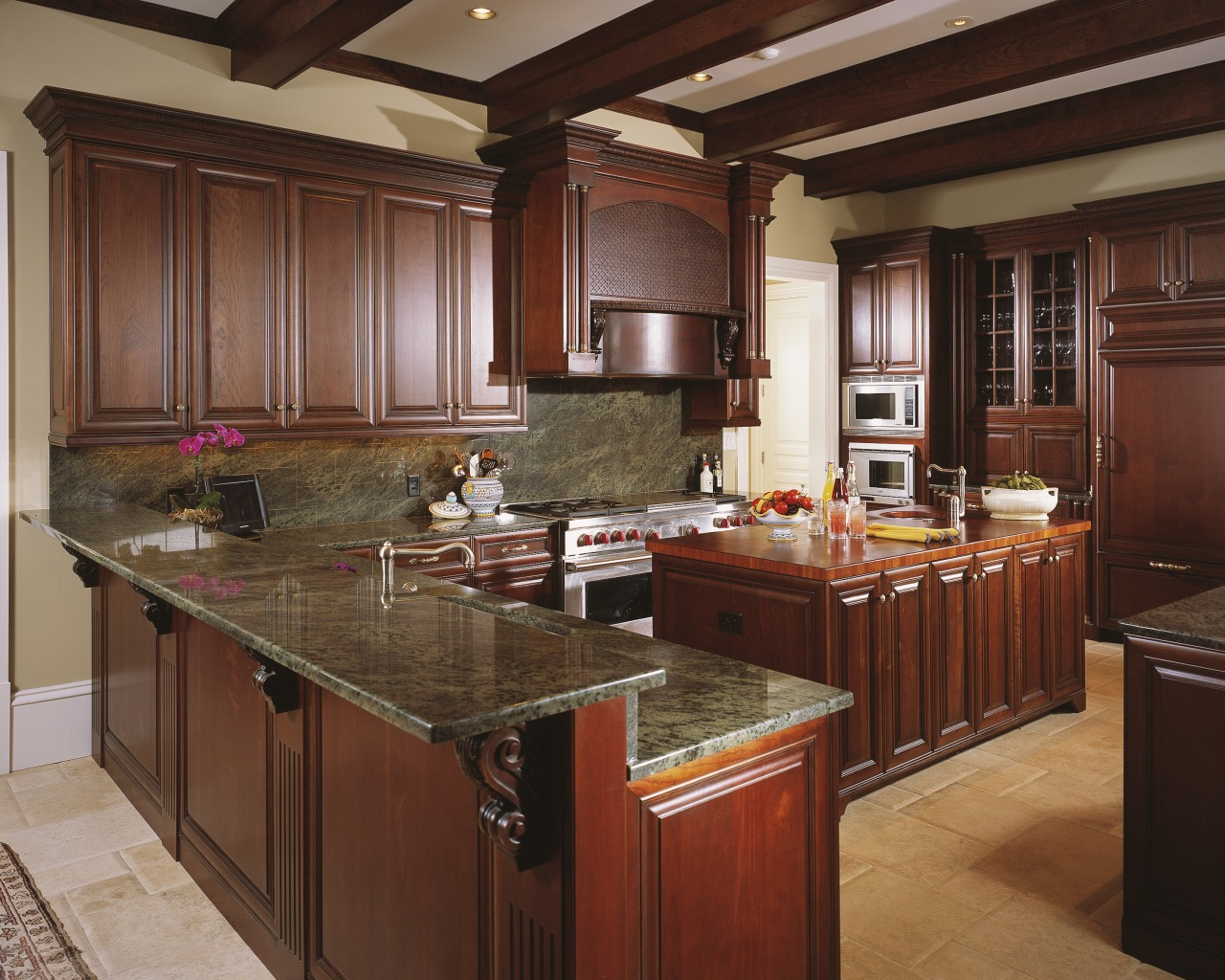 View of kitchen built by Southeastern Construction Mangament cabinetry, countertop, cuisine classique, interior design, kitchen, red, brown