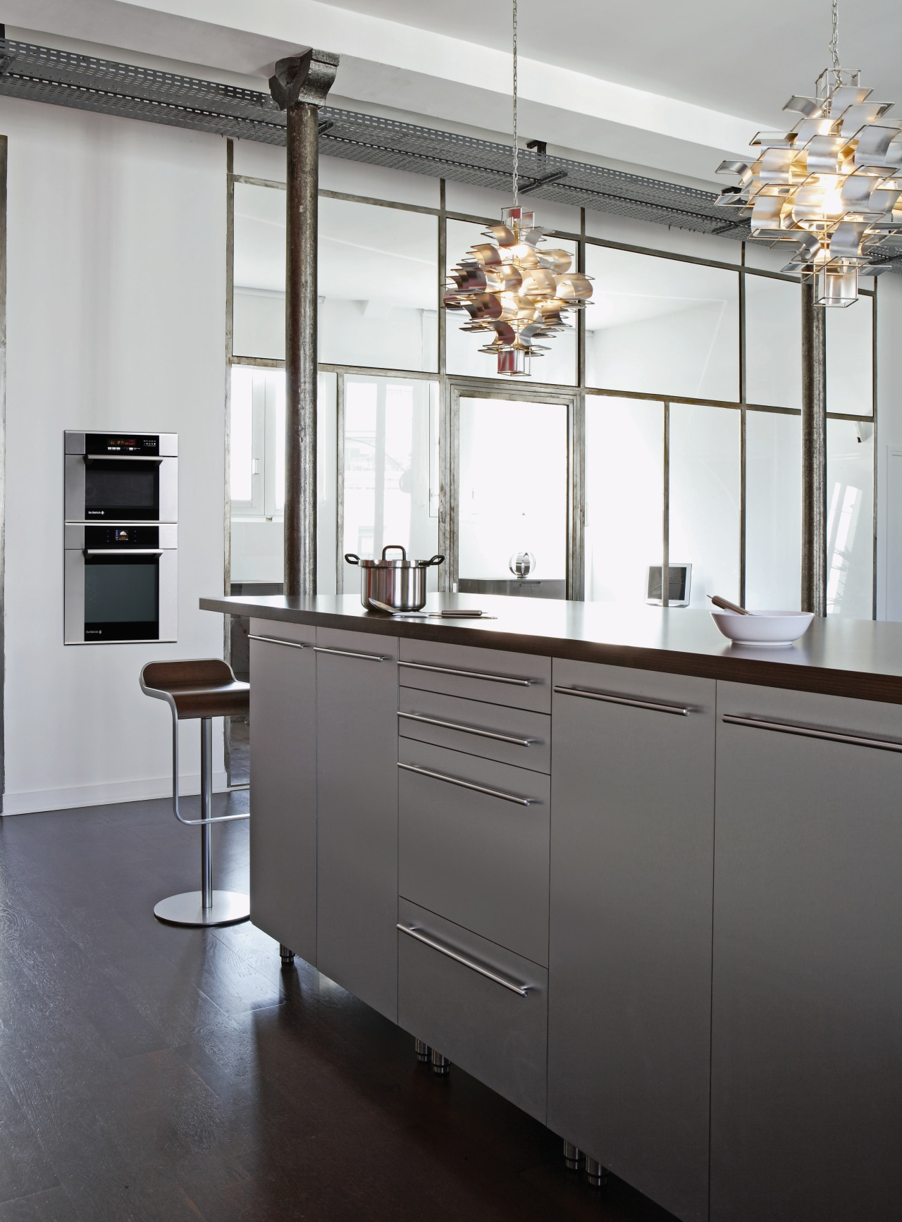 De Dietrich appliances have a sleek aesthetic that cabinetry, countertop, furniture, interior design, kitchen, gray, white