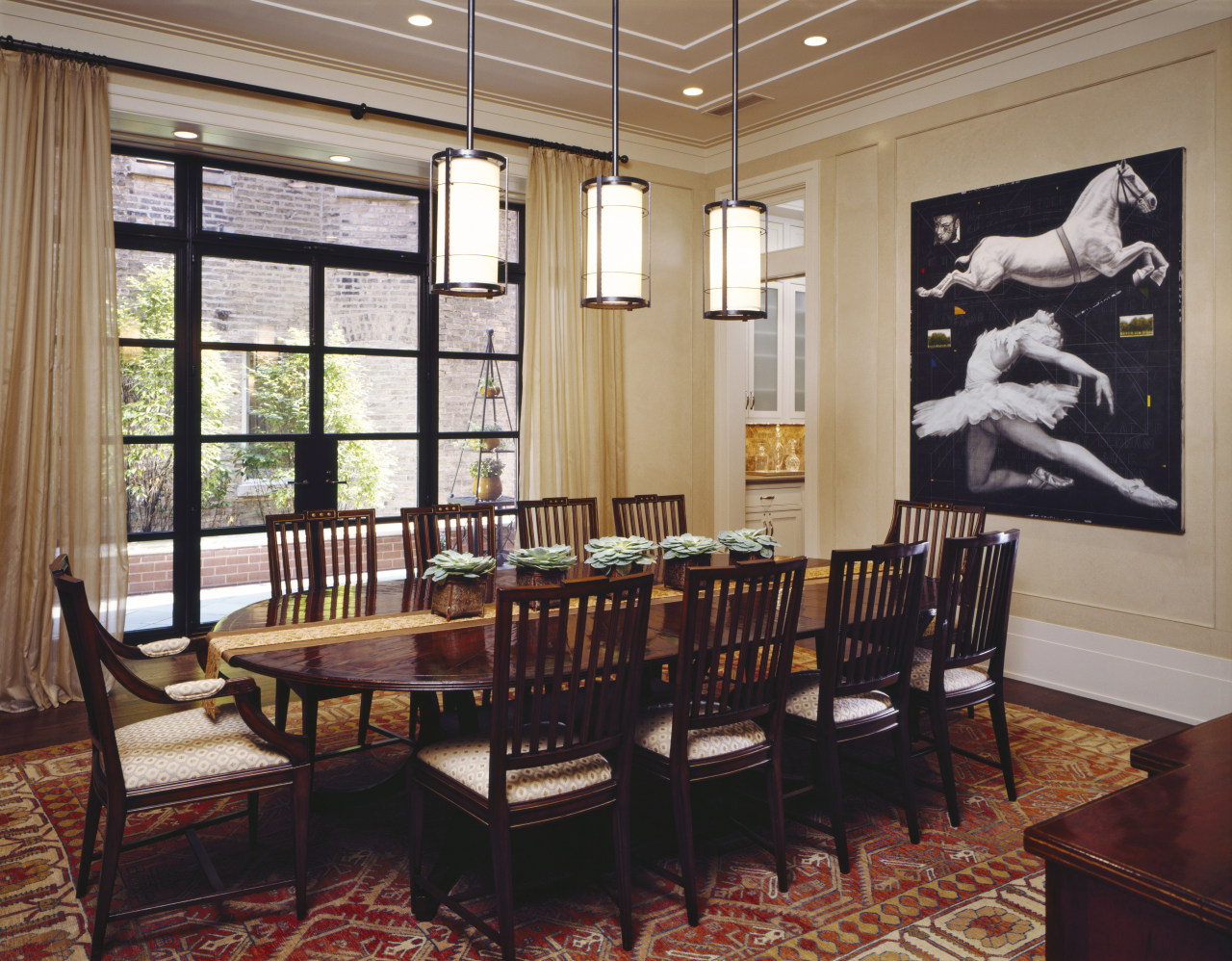 View of living areas designed by Soucie Horner. ceiling, dining room, furniture, interior design, real estate, restaurant, room, table
