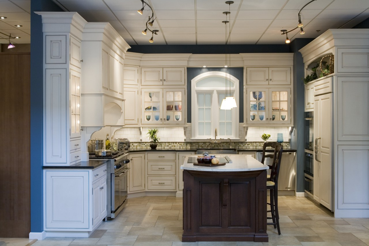 view of kitchen by Detail Kitchens featuring tiled cabinetry, ceiling, countertop, cuisine classique, interior design, kitchen, room, gray