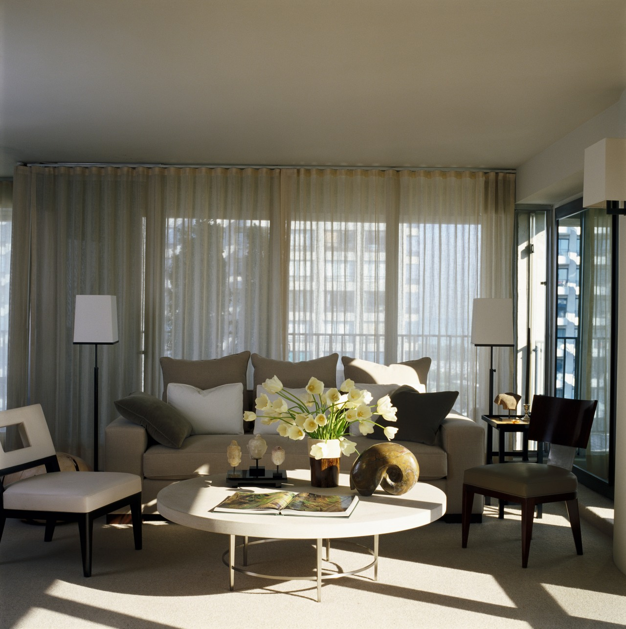 View of rooms designed by Handman Associates. ceiling, curtain, furniture, home, interior design, living room, room, table, window, window blind, window covering, window treatment, gray