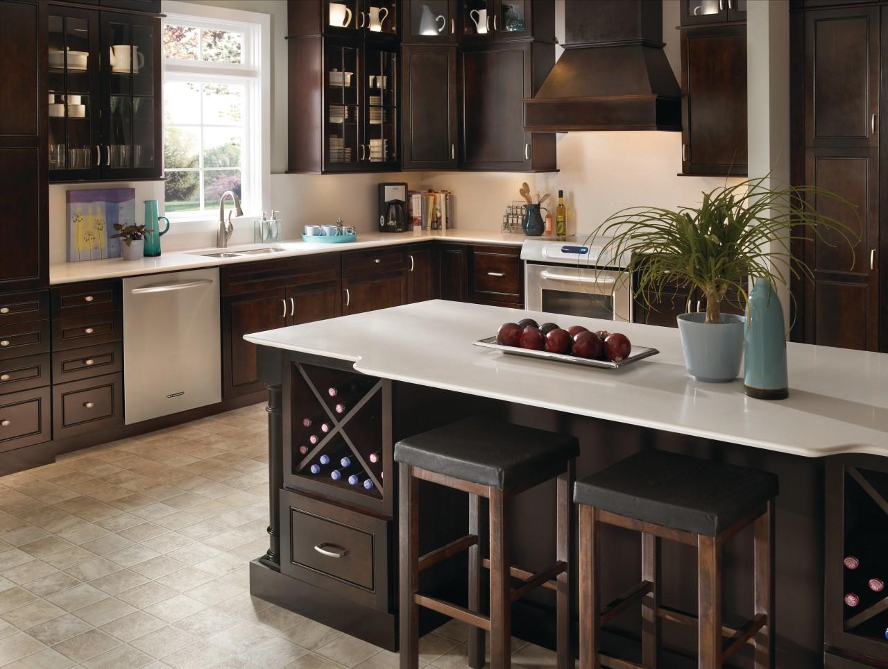 Crisp white Silestone Quartz Yukon Blanco countertops feature cabinetry, countertop, cuisine classique, flooring, furniture, interior design, kitchen, black, gray