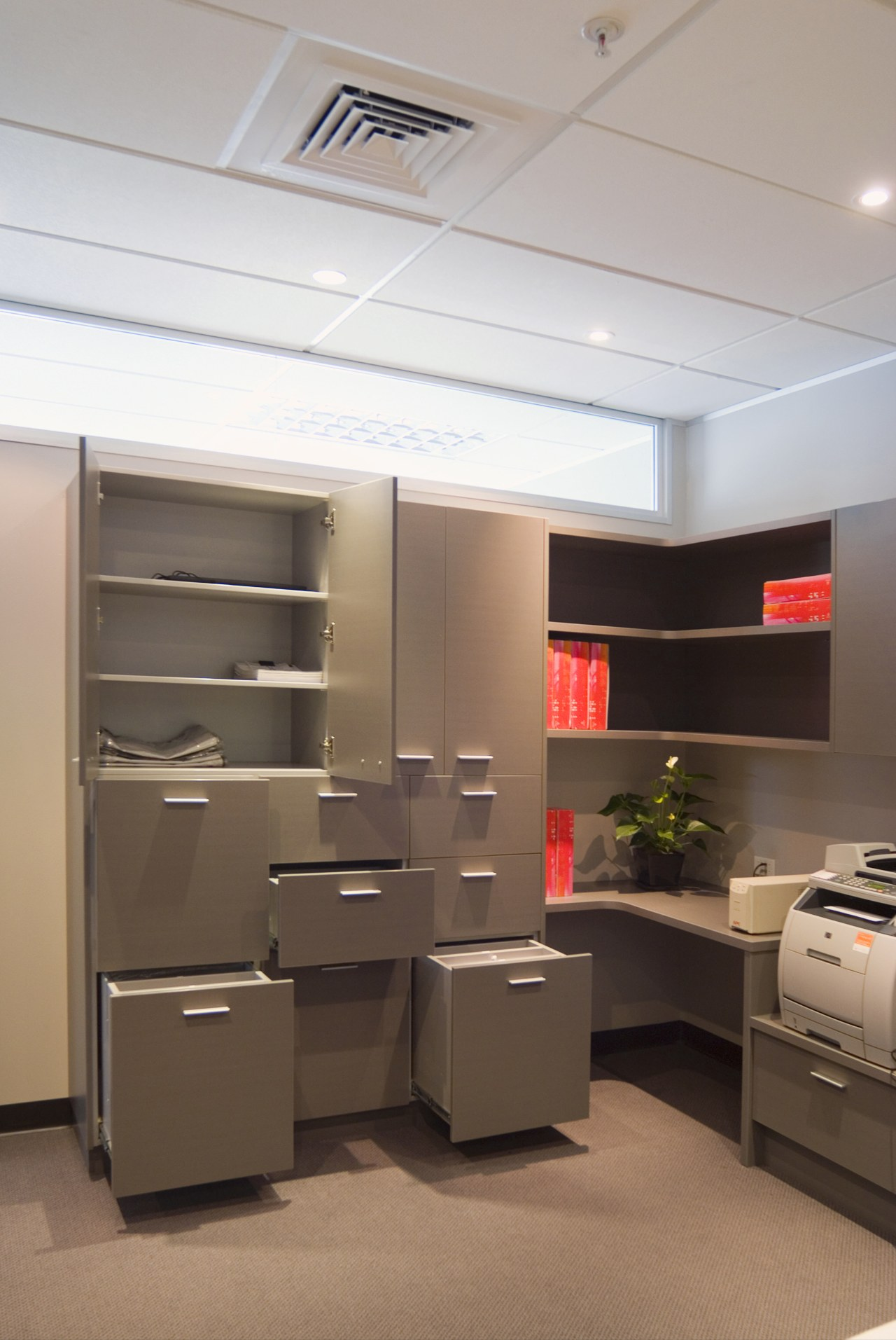 The built in cabinets feature Laminex low pressure ceiling, furniture, interior design, office, product design, brown