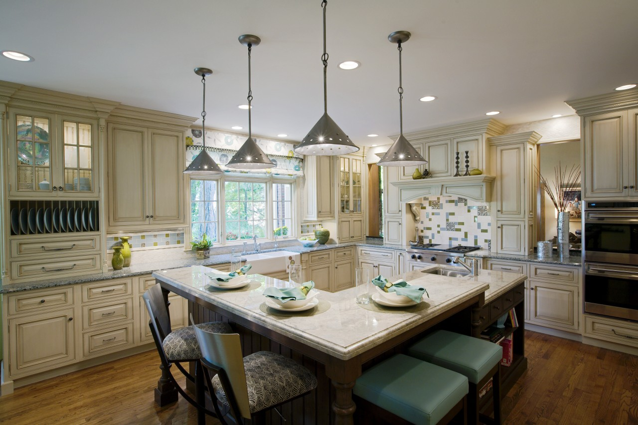 View of kitchen by Drury Kitchen design & cabinetry, countertop, cuisine classique, dining room, home, interior design, kitchen, room, window, gray, brown