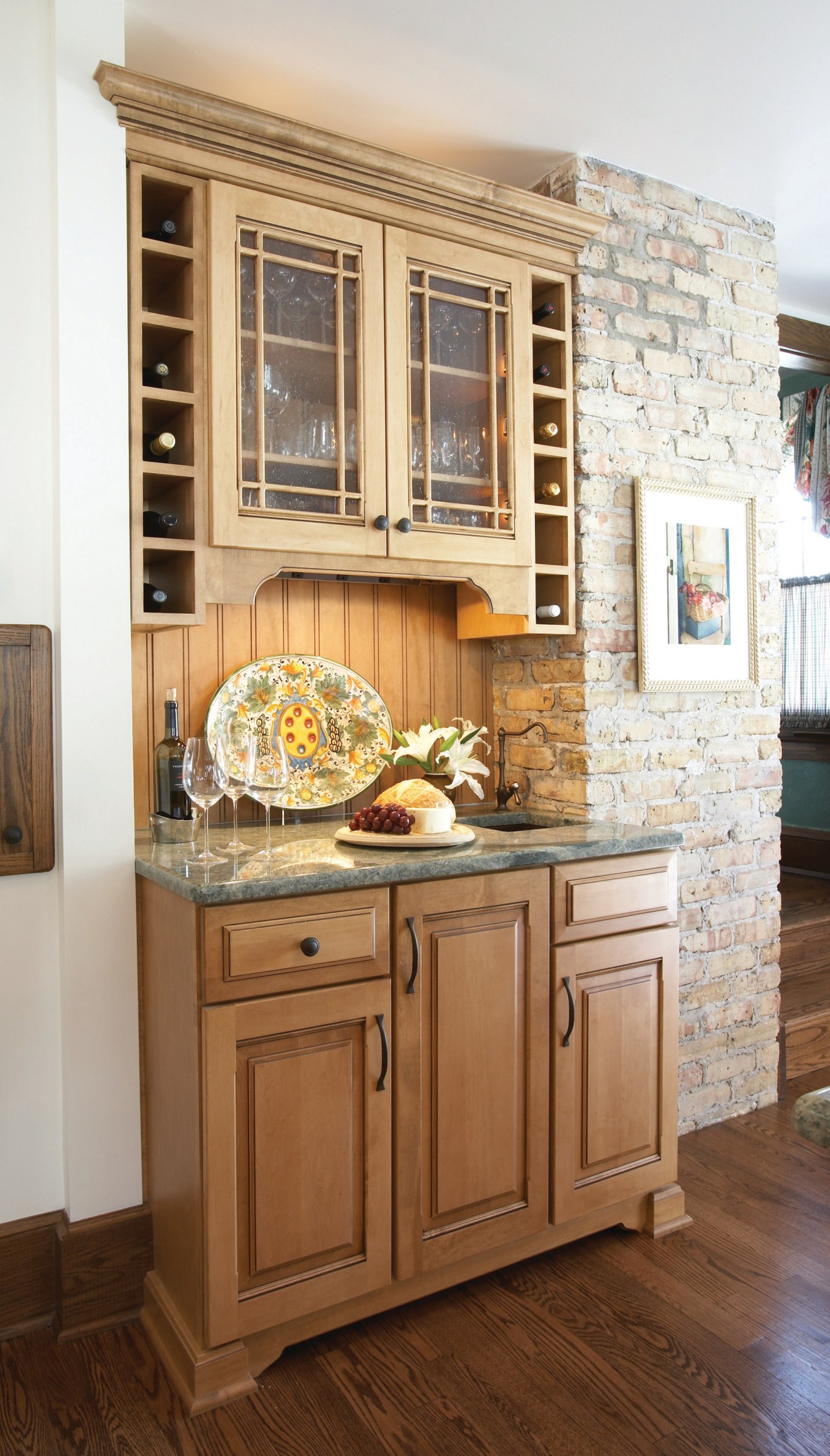 Built in bar with cabintery facing the kitchen cabinetry, countertop, cuisine classique, flooring, furniture, home, interior design, kitchen, room, wood stain, brown, white