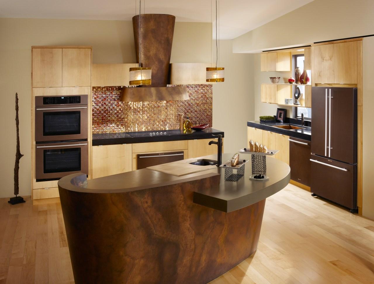 Bronze contemporary kitchen cabinetry, countertop, cuisine classique, floor, flooring, hardwood, interior design, kitchen, room, wood flooring, orange, brown