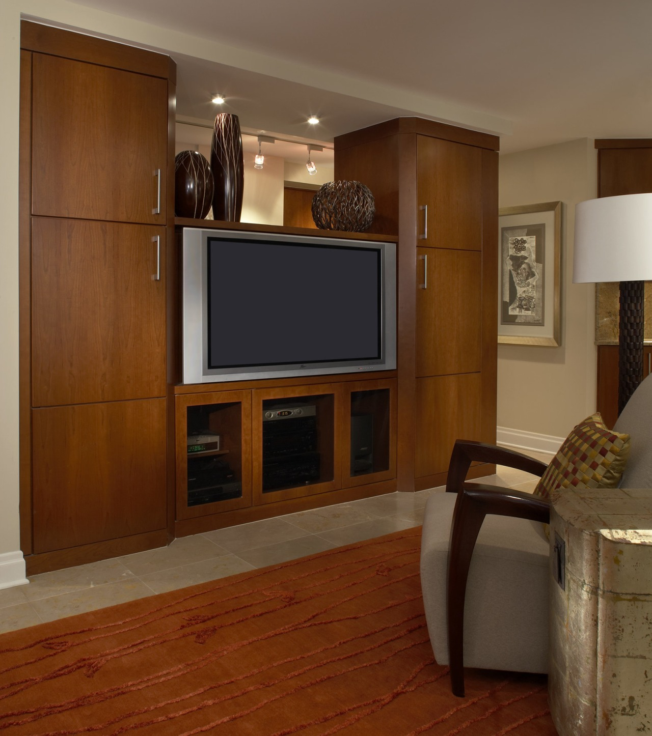 This contemporary entertainment centre was designed and made cabinetry, floor, flooring, furniture, hardwood, home, interior design, laminate flooring, living room, room, shelving, wall, wood, wood flooring, wood stain, brown