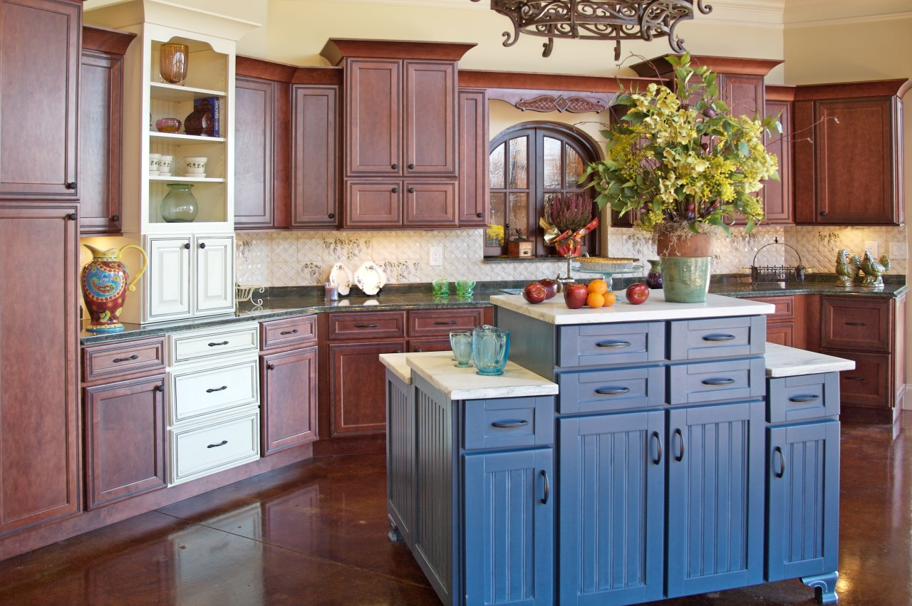 View of customised kitchens by Atlanta Kitchen and cabinetry, countertop, cuisine classique, hardwood, interior design, kitchen, room, red, gray