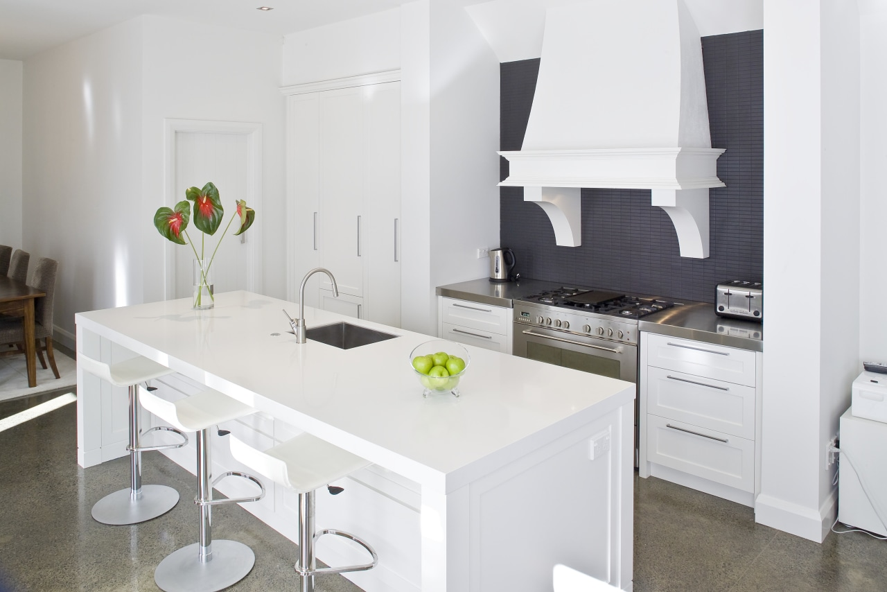 View of a modern styled kitchen which features countertop, cuisine classique, interior design, kitchen, room, white
