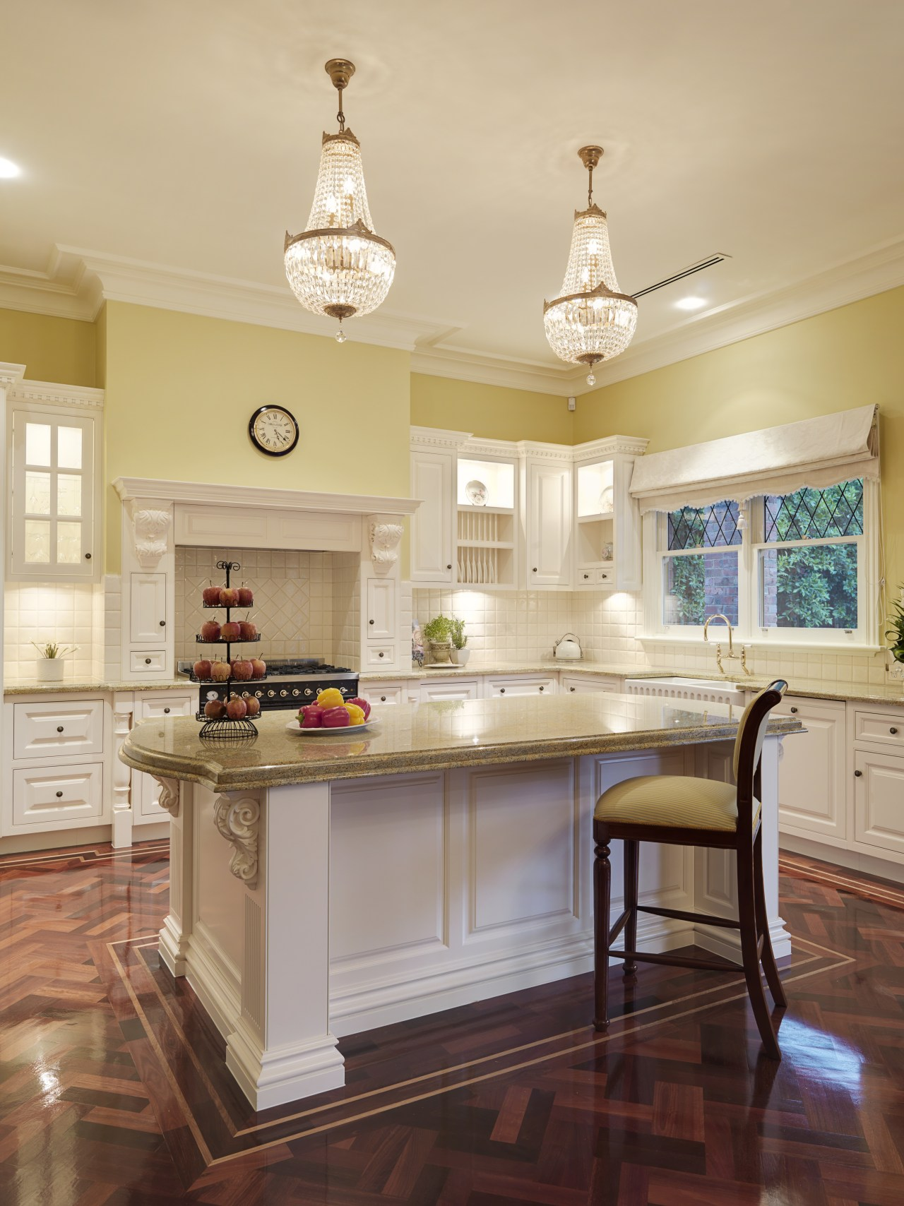 View of traditional styled kitchen in a new cabinetry, ceiling, countertop, cuisine classique, furniture, hardwood, home, interior design, kitchen, real estate, room, table, orange