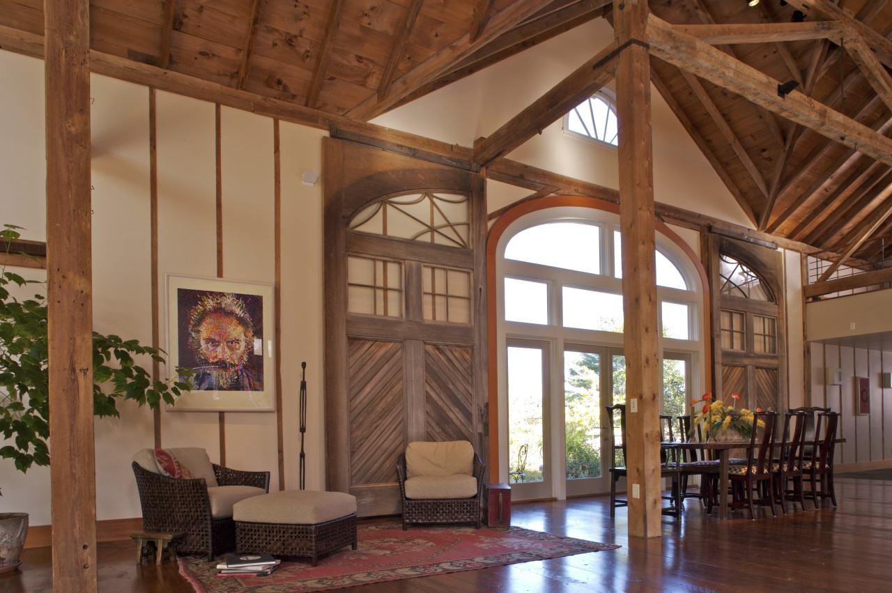 View of the front entrance way showing the beam, ceiling, estate, interior design, living room, lobby, real estate, wood, brown