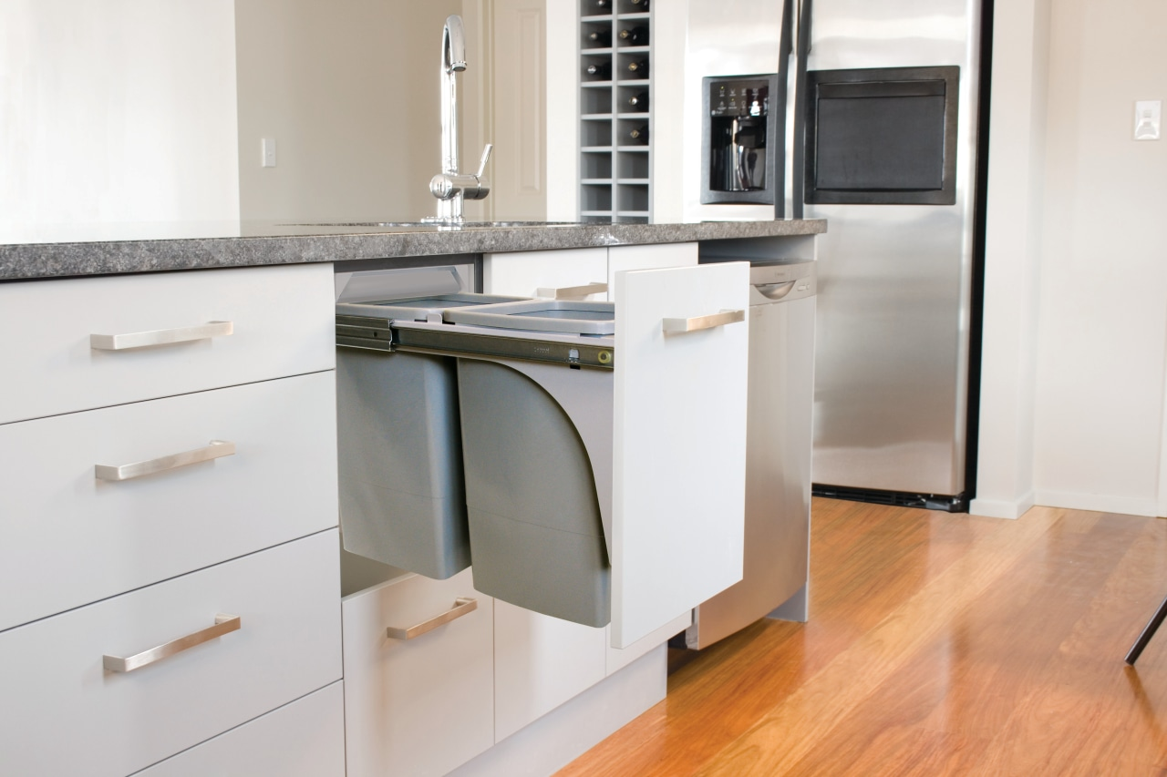Hideaway Bins from Kitchen King roll out of countertop, floor, furniture, home appliance, kitchen, major appliance, product, product design, room, white