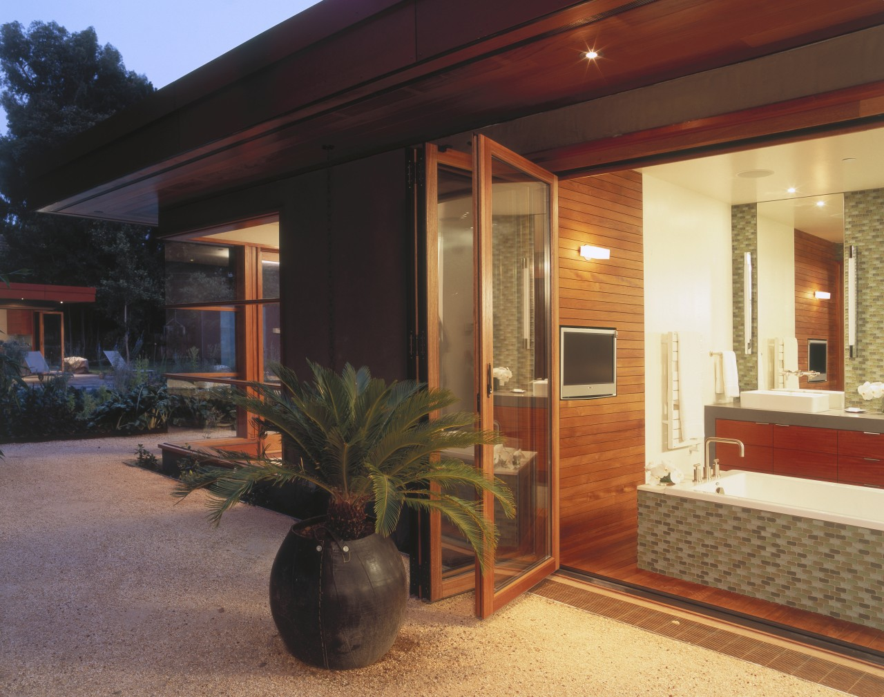 Exterior view of bathroom suite which was sustainably door, facade, home, house, interior design, property, real estate, window, black