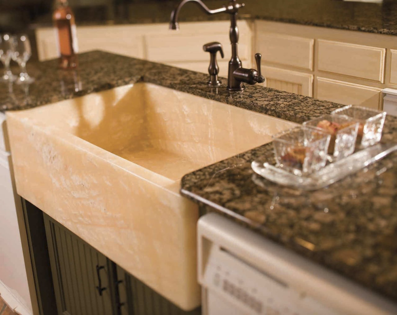 De La Fontera can custom design and handcraft countertop, granite, kitchen, sink, orange, brown