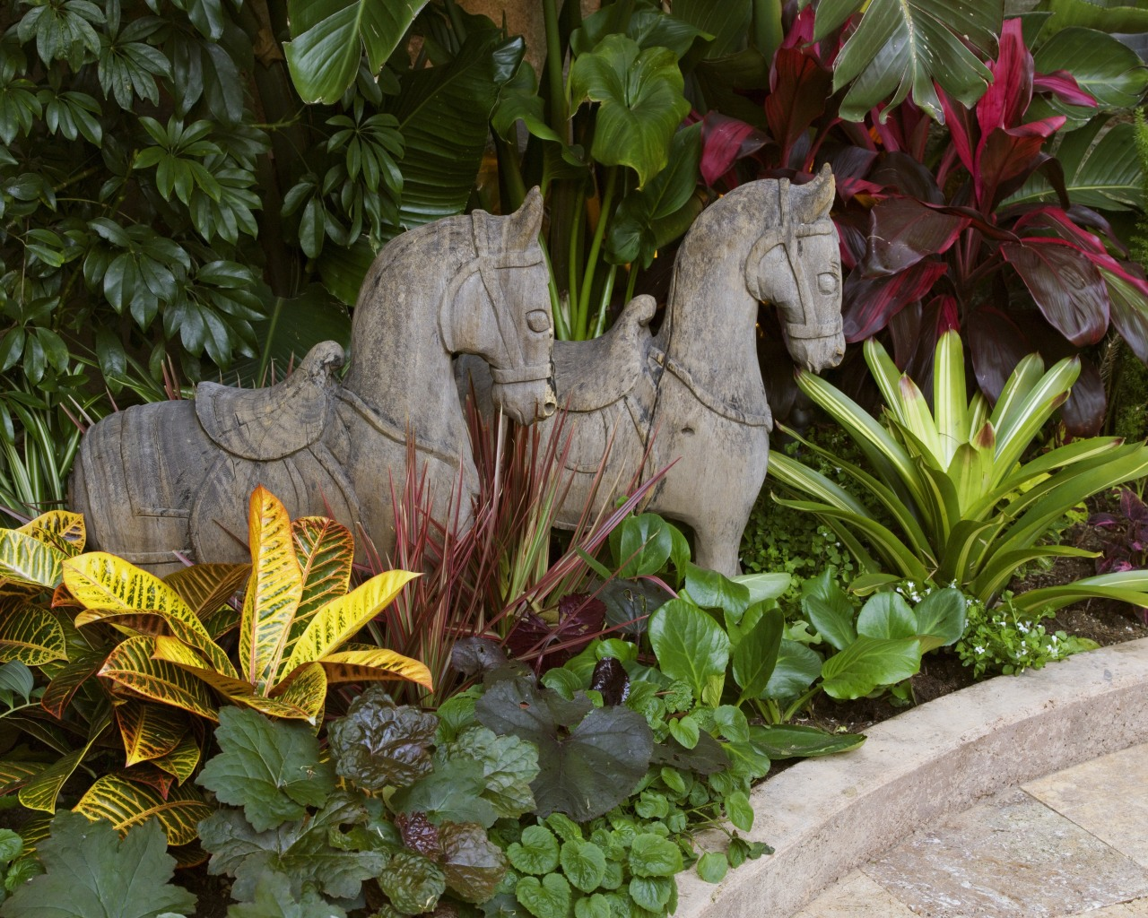 View of two equine sculptures from Bali standing garden, leaf, plant, yard, brown