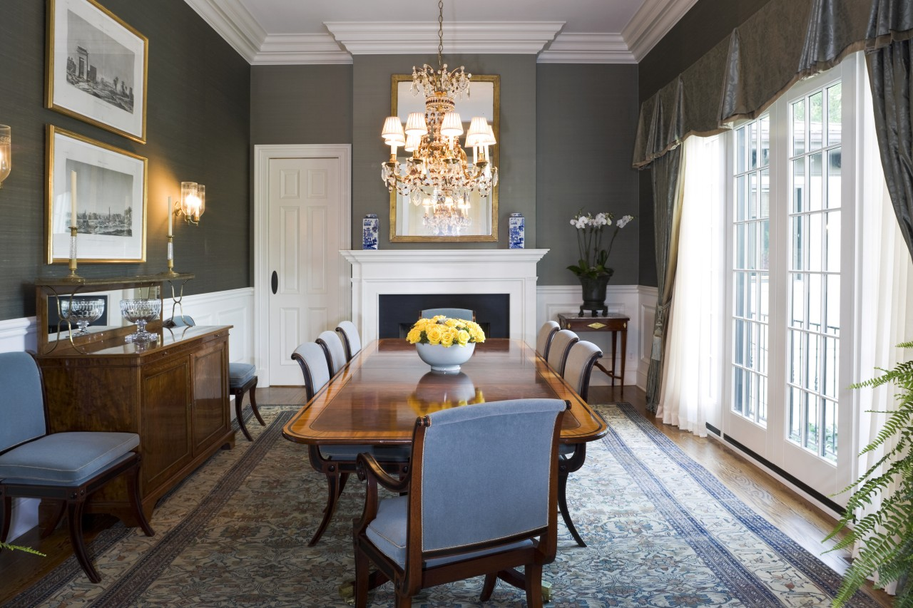 View of the formal dining room with a dining room, home, interior design, living room, real estate, room, table, white, black