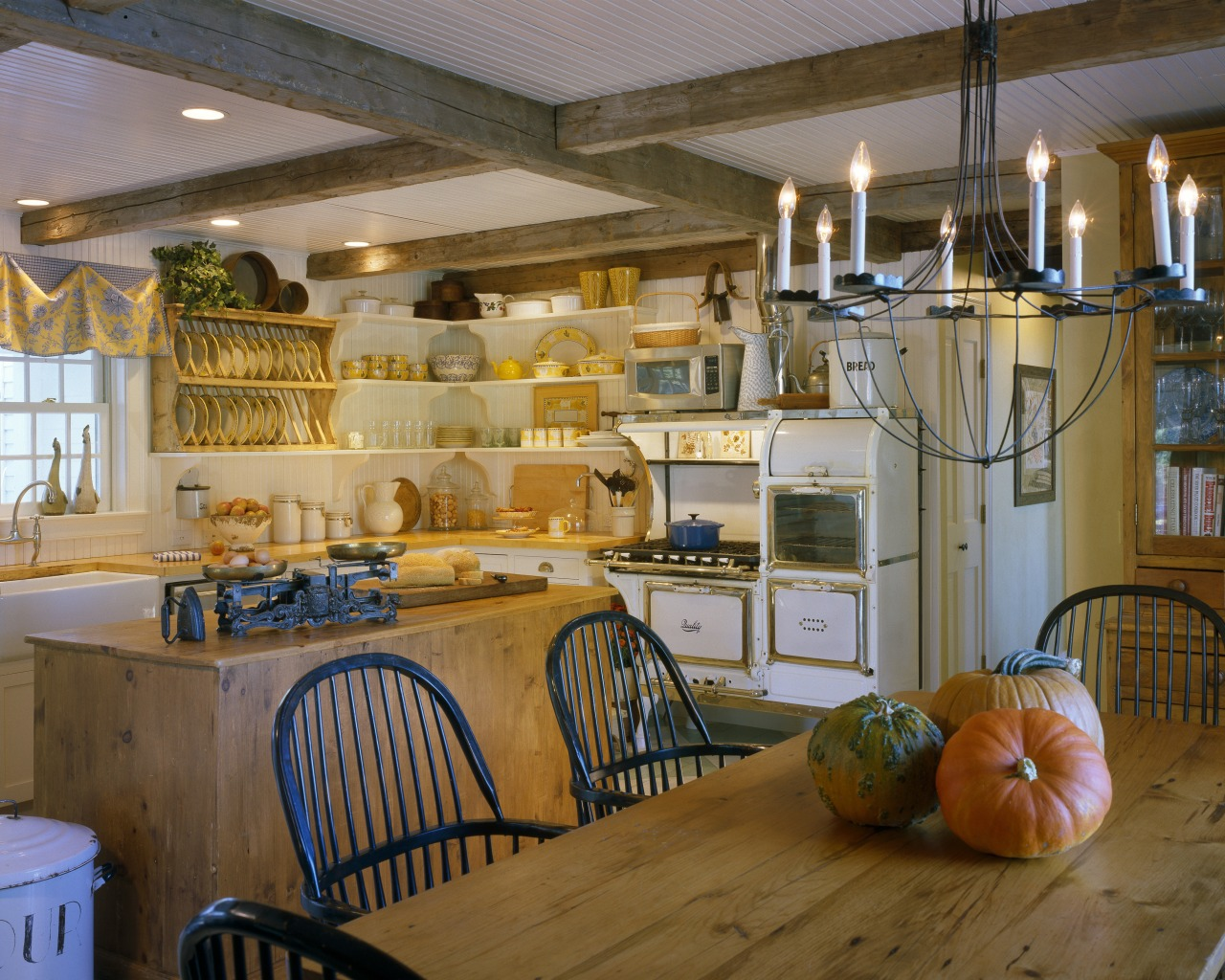 View of a remodelled country-styled kitchen which features countertop, home, interior design, kitchen, room, brown