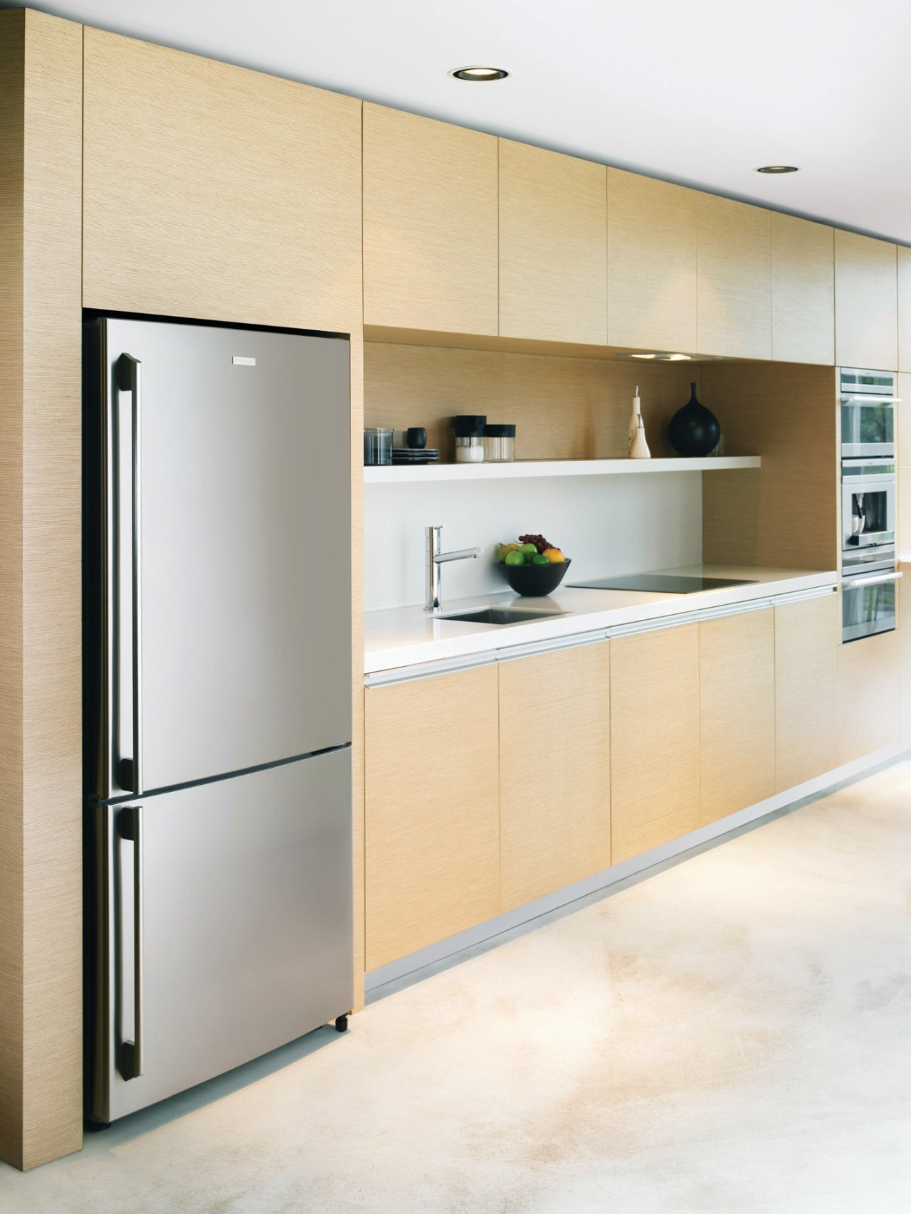 These Electrolux E:Line refridgerators are sleek, spacious and cabinetry, home appliance, interior design, kitchen, major appliance, product design, refrigerator, white