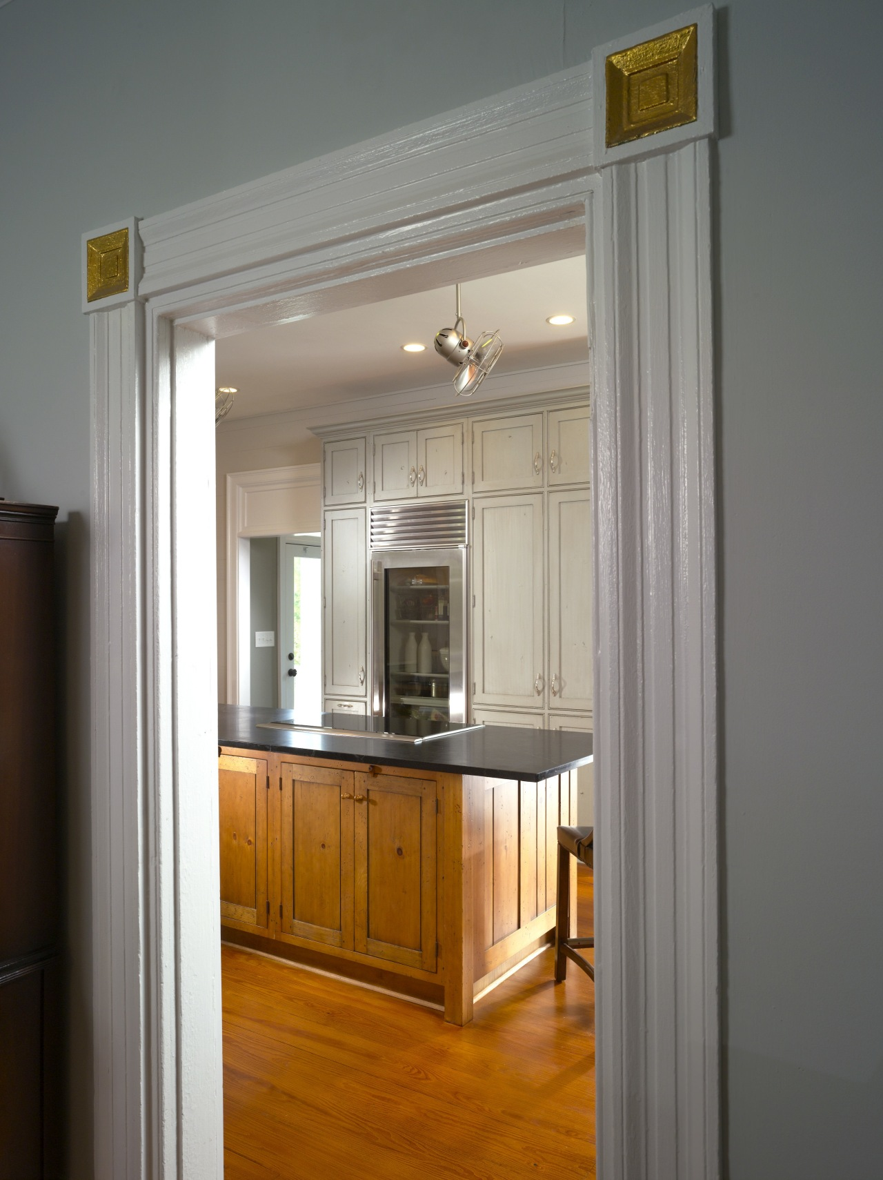 View of the original 1832 farmhouse door and cabinetry, furniture, home, interior design, room, gray
