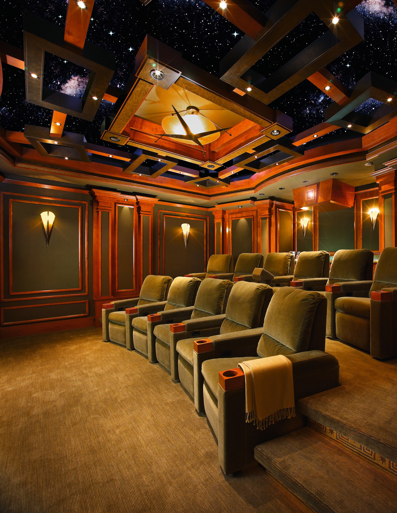Image of this home theatre which seats 12 auditorium, ceiling, entertainment, function hall, interior design, lighting, theatre, brown