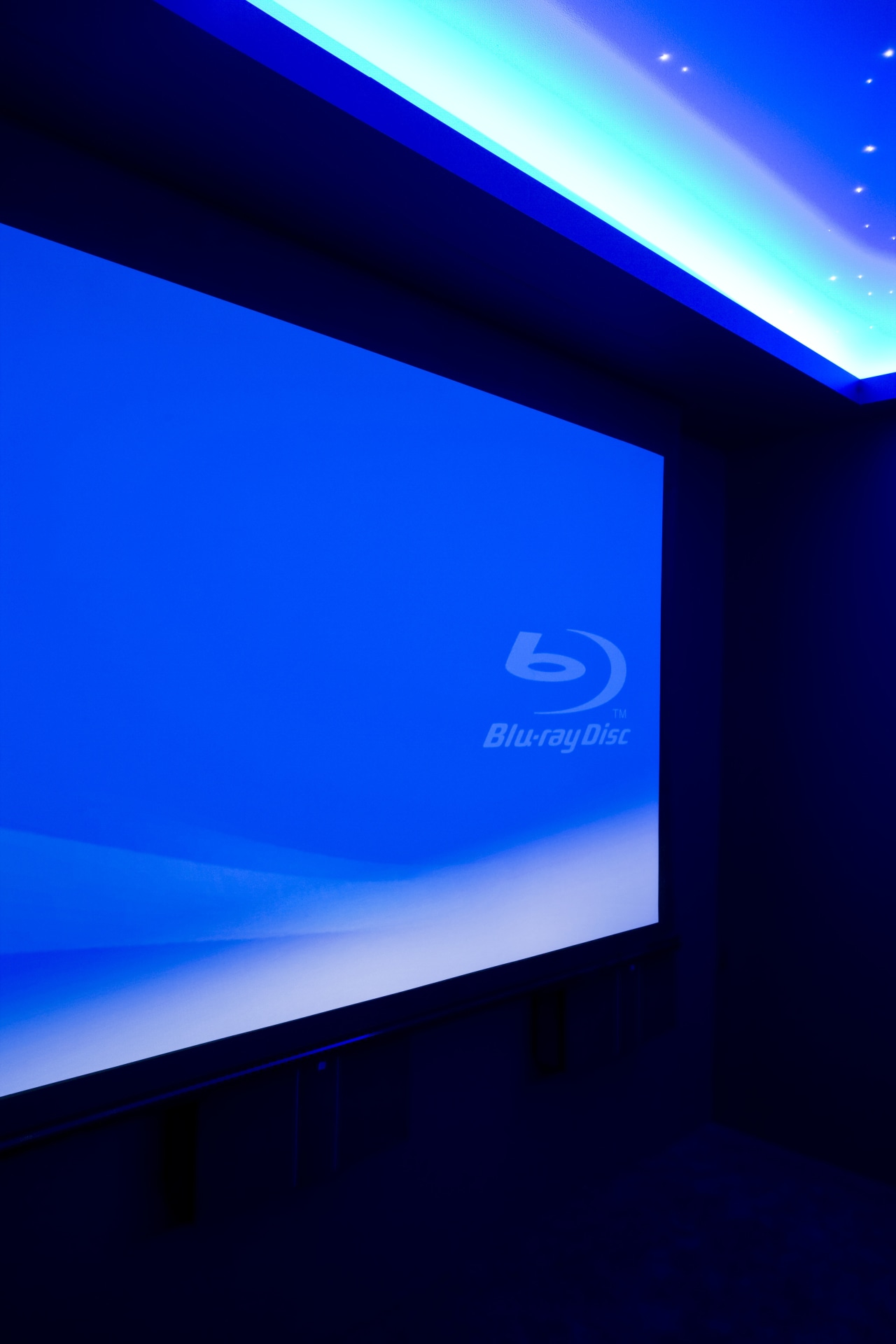 View of projector screen in home theatre. blue, computer wallpaper, display device, flat panel display, led backlit lcd display, light, lighting, multimedia, projection screen, sky, technology, blue