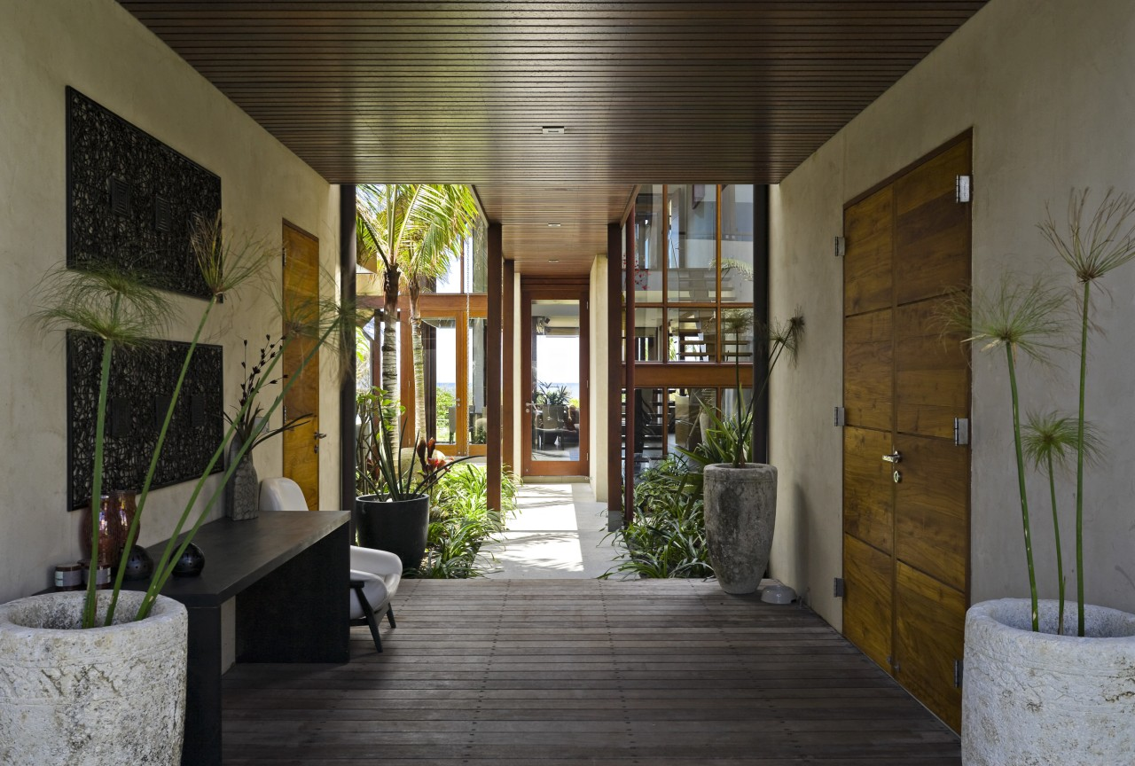 View of the covered breezeway which runs from courtyard, home, house, interior design, brown, gray