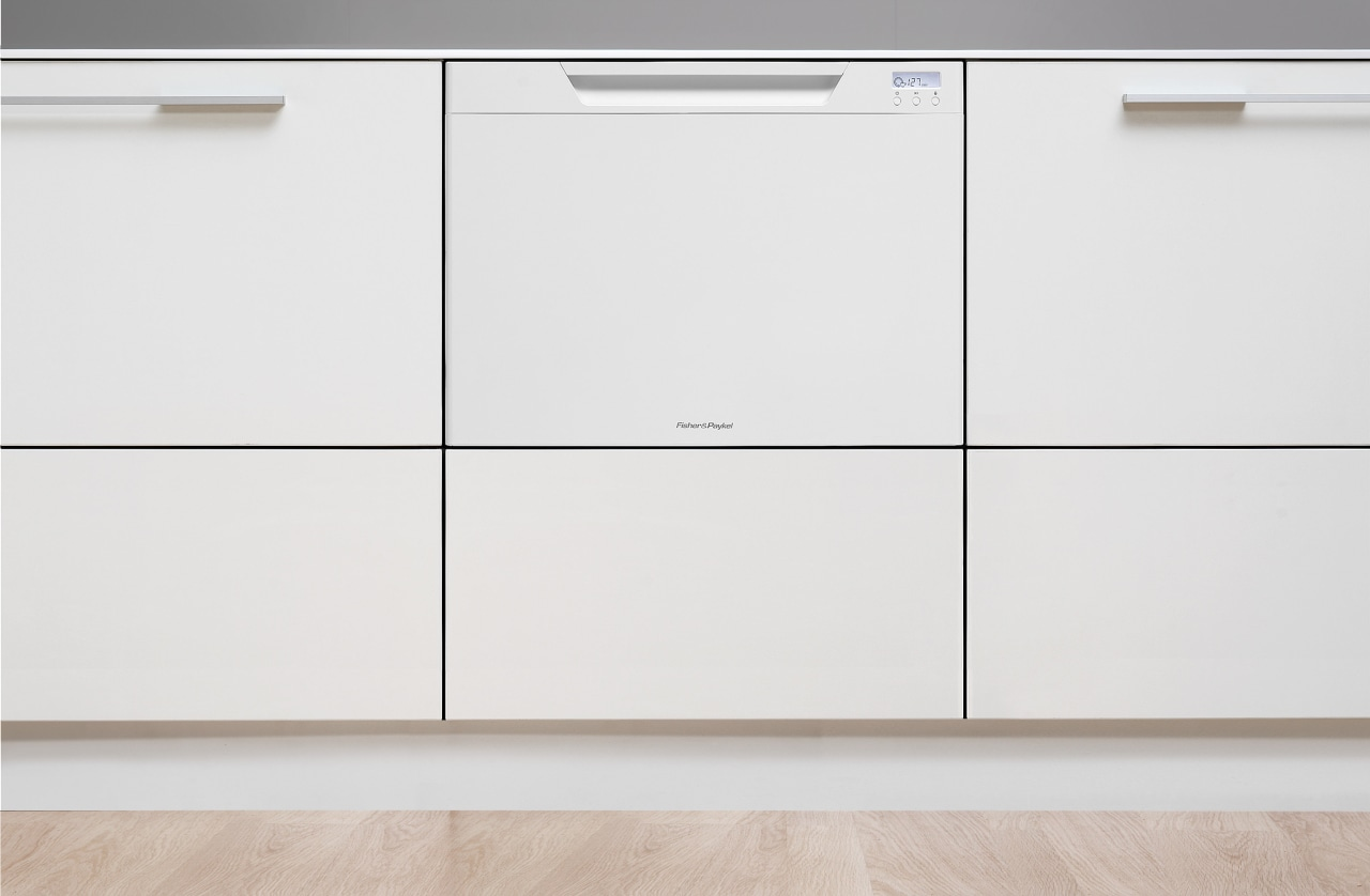 View of a kitchen with Fisher & Paykel's chest of drawers, drawer, filing cabinet, furniture, product, product design, sideboard, white