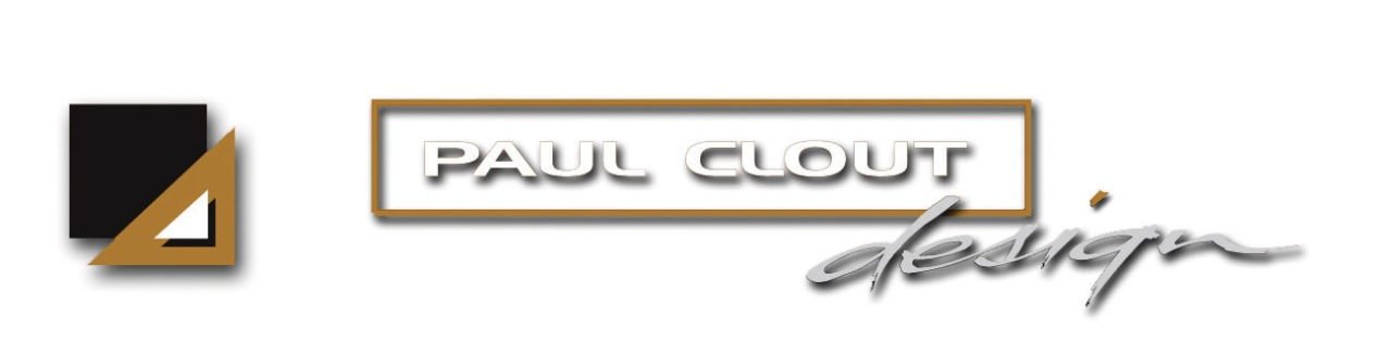 Image of the Paul Clout Design logo. brand, design, font, graphics, logo, product, product design, text, white