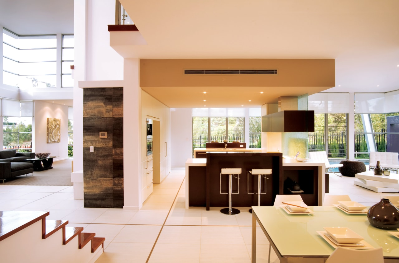 View of the kitchen area of a high-end interior design, kitchen, living room, real estate, white, orange