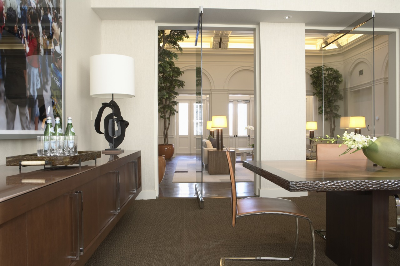 View of a conference room at the Phillips countertop, furniture, home, interior design, kitchen, real estate, brown, white