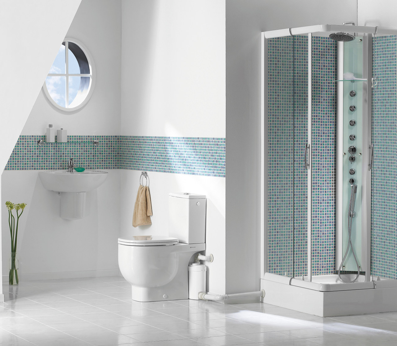 View of a bathroom which features Saniflo pumps. bathroom, bathroom accessory, bathroom cabinet, floor, interior design, plumbing fixture, product, product design, tap, tile, white, gray