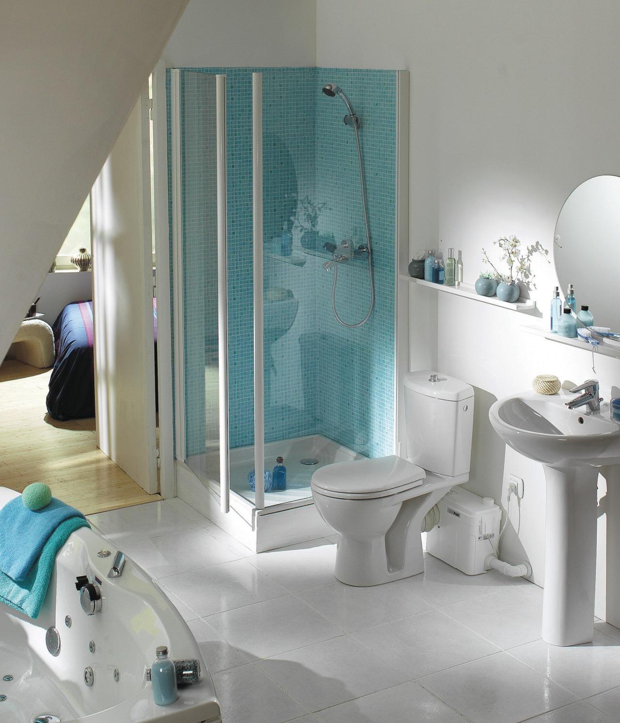 View of a bathroom which features Saniflo pumps. bathroom, bathtub, floor, interior design, plumbing fixture, room, tile, window, gray