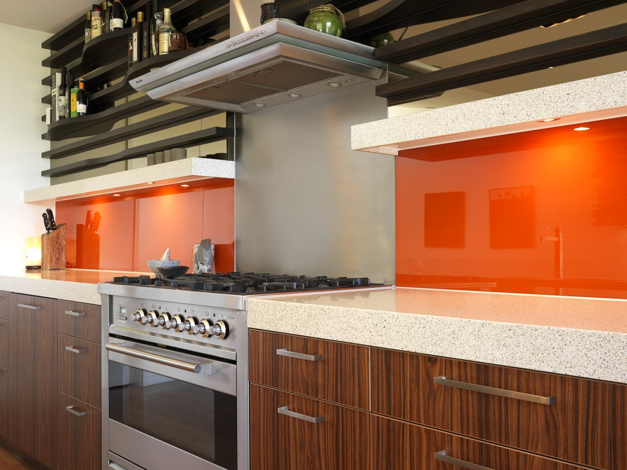View of a cafe-styled kitchen which features CaesarStone cabinetry, countertop, interior design, kitchen, room, brown