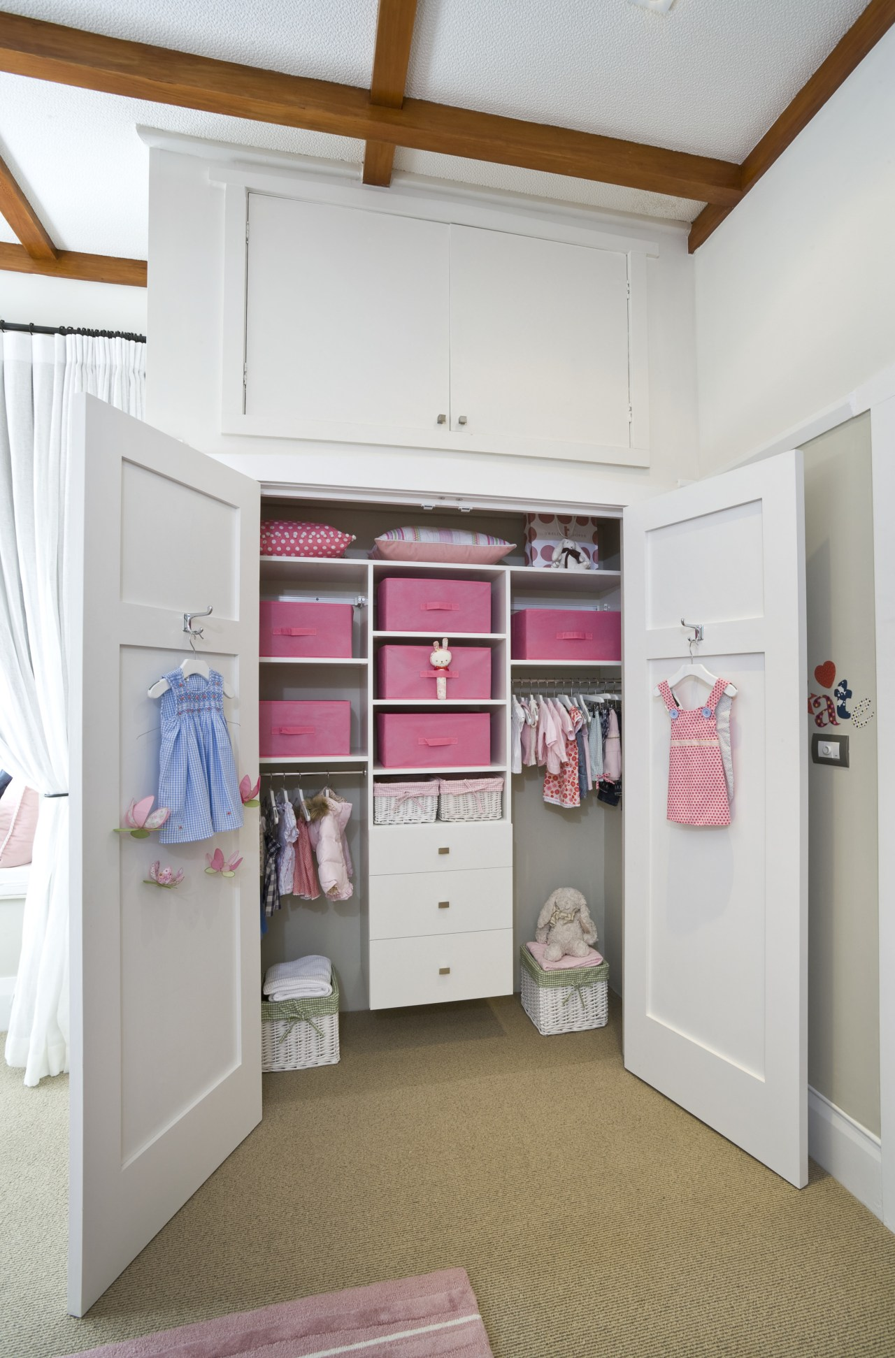 littie Girls room designed by Yellowfox. Manufactured by closet, furniture, product, room, shelf, shelving, gray