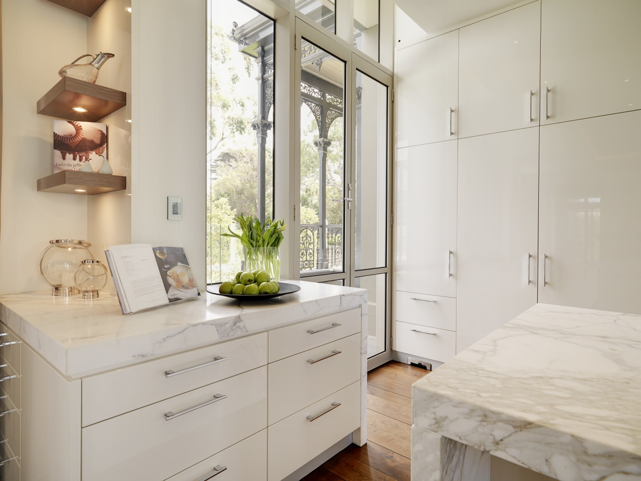 View of extra cabinetry next to kitchen which cabinetry, countertop, cuisine classique, floor, home, interior design, kitchen, room, gray