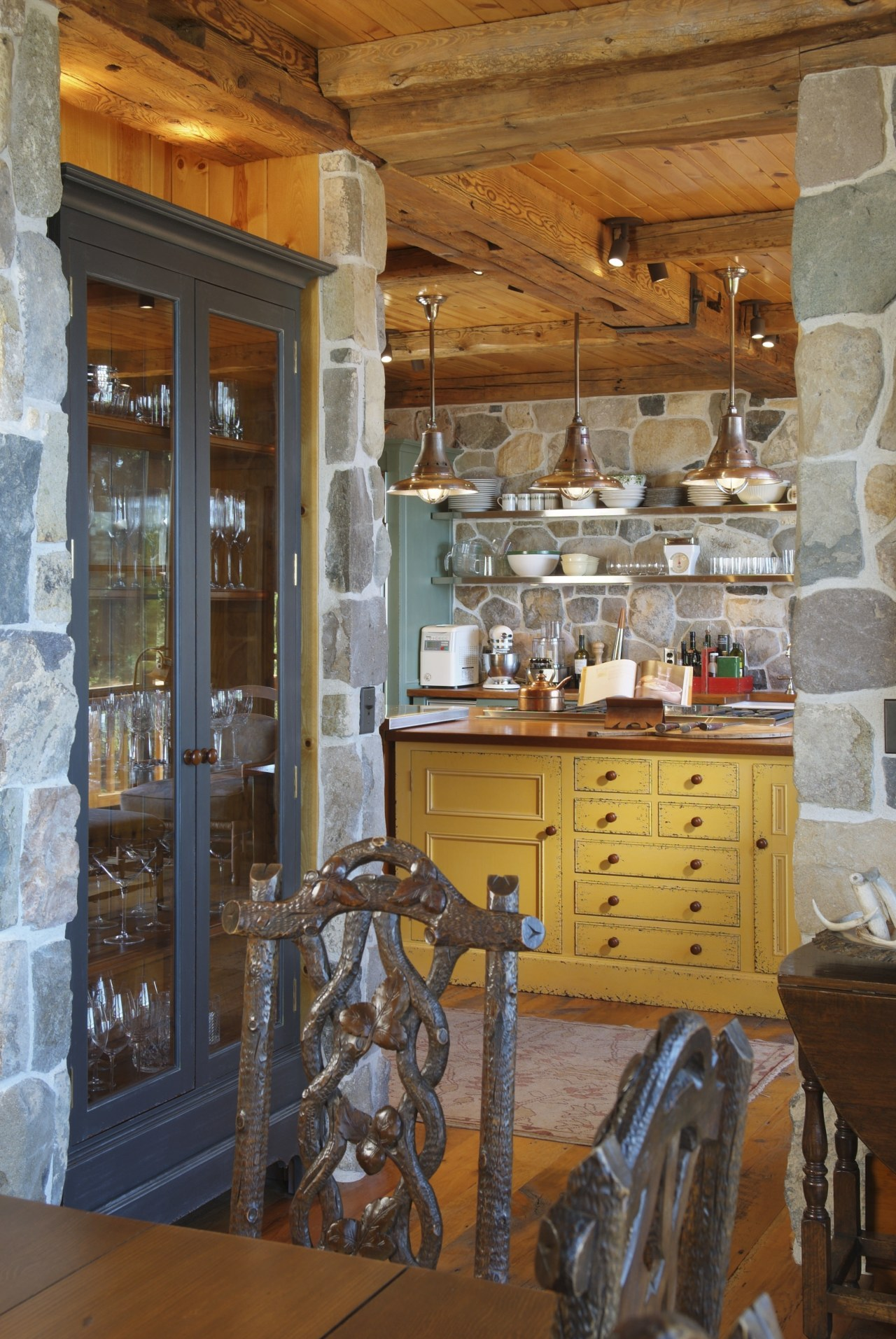 View of an old-styled kitchen which features a cabinetry, furniture, home, interior design, kitchen, room, wood, brown