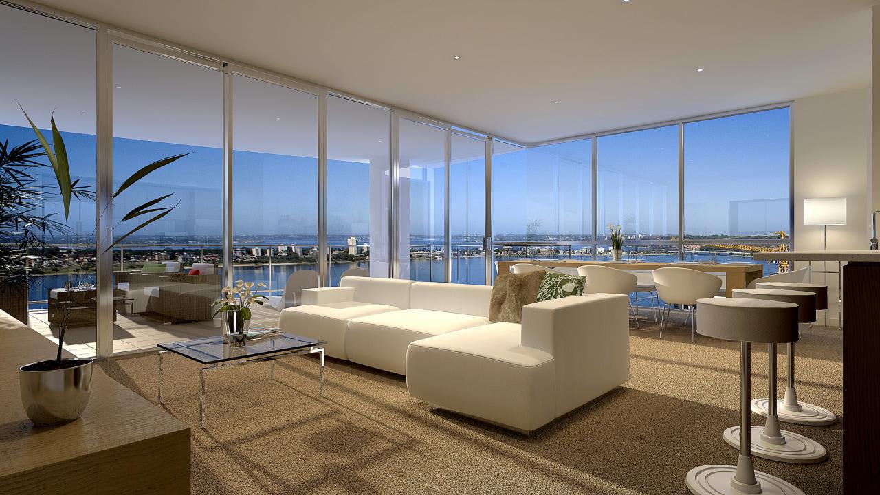 View of the Fairlanes Perth apartment living and apartment, condominium, interior design, living room, penthouse apartment, real estate, window, brown, gray